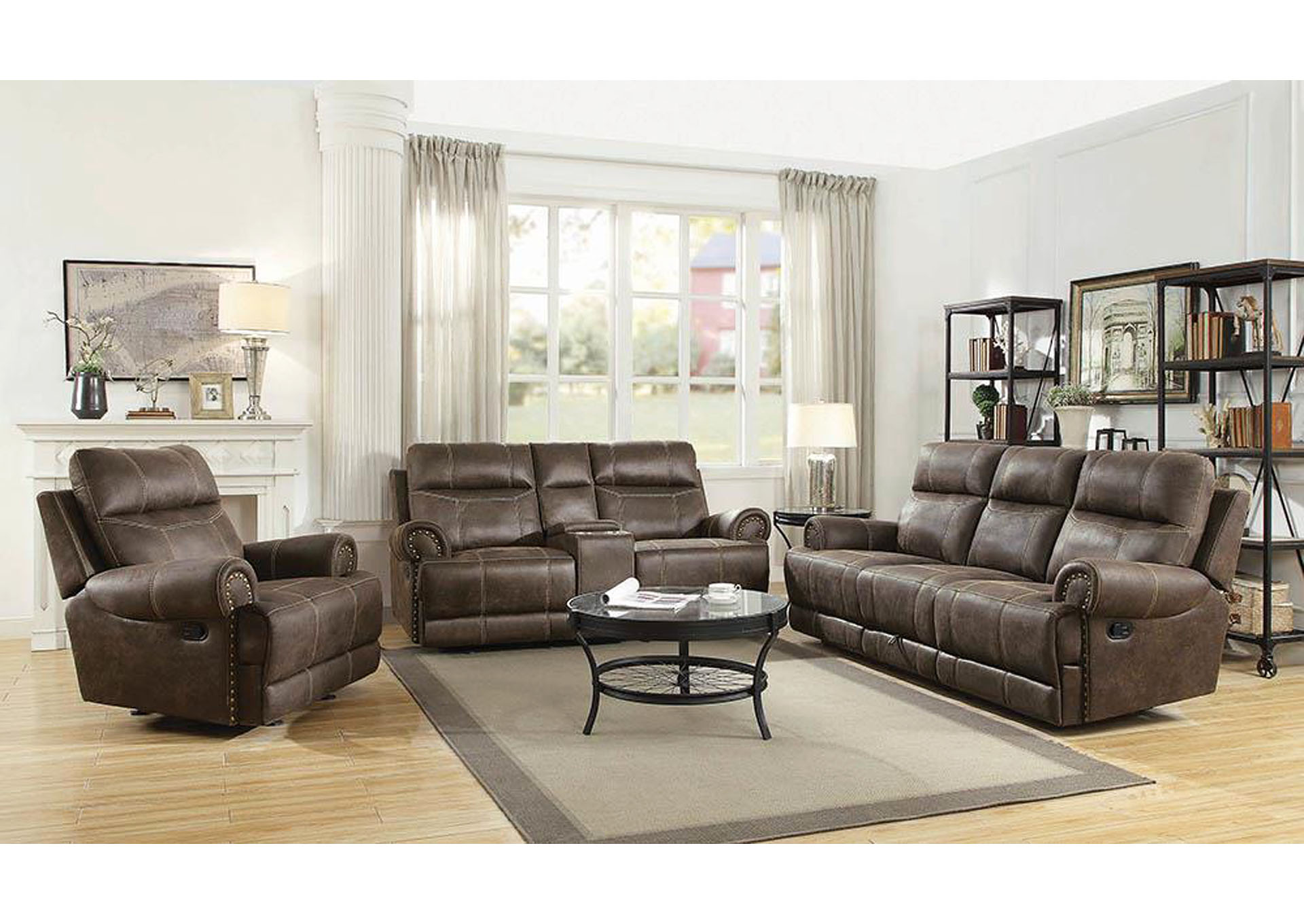 Buckskin Brown Glider Reclining Loveseat,Coaster Furniture