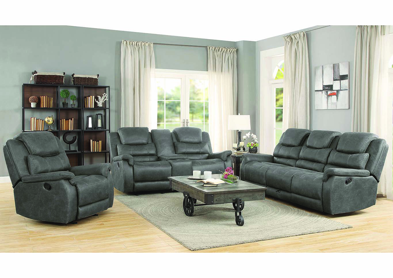 Grey Glider Motion Reclining Loveseat w/ Console,Coaster Furniture