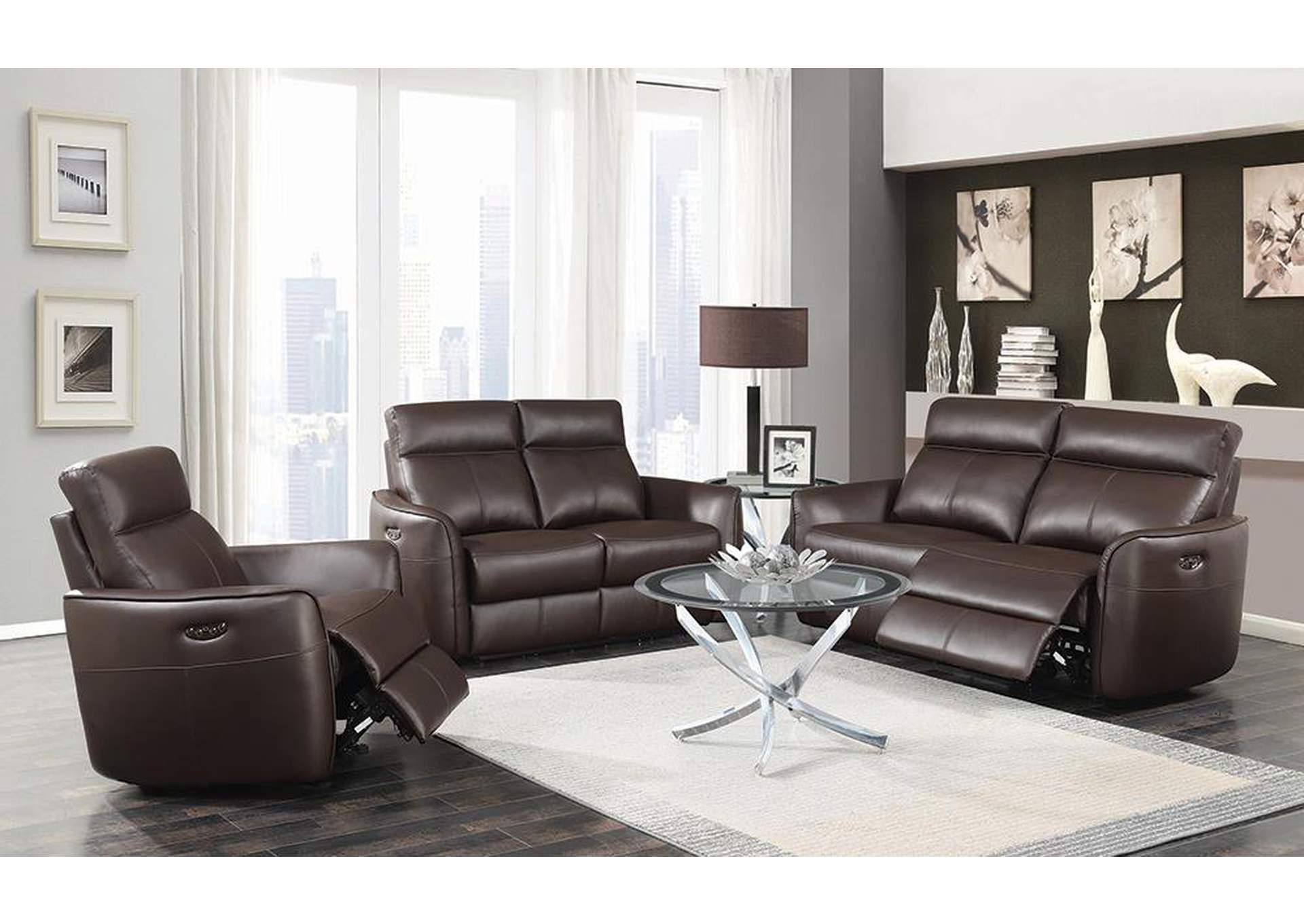 Dark Brown Power Reclining Leather Sofa,Coaster Furniture