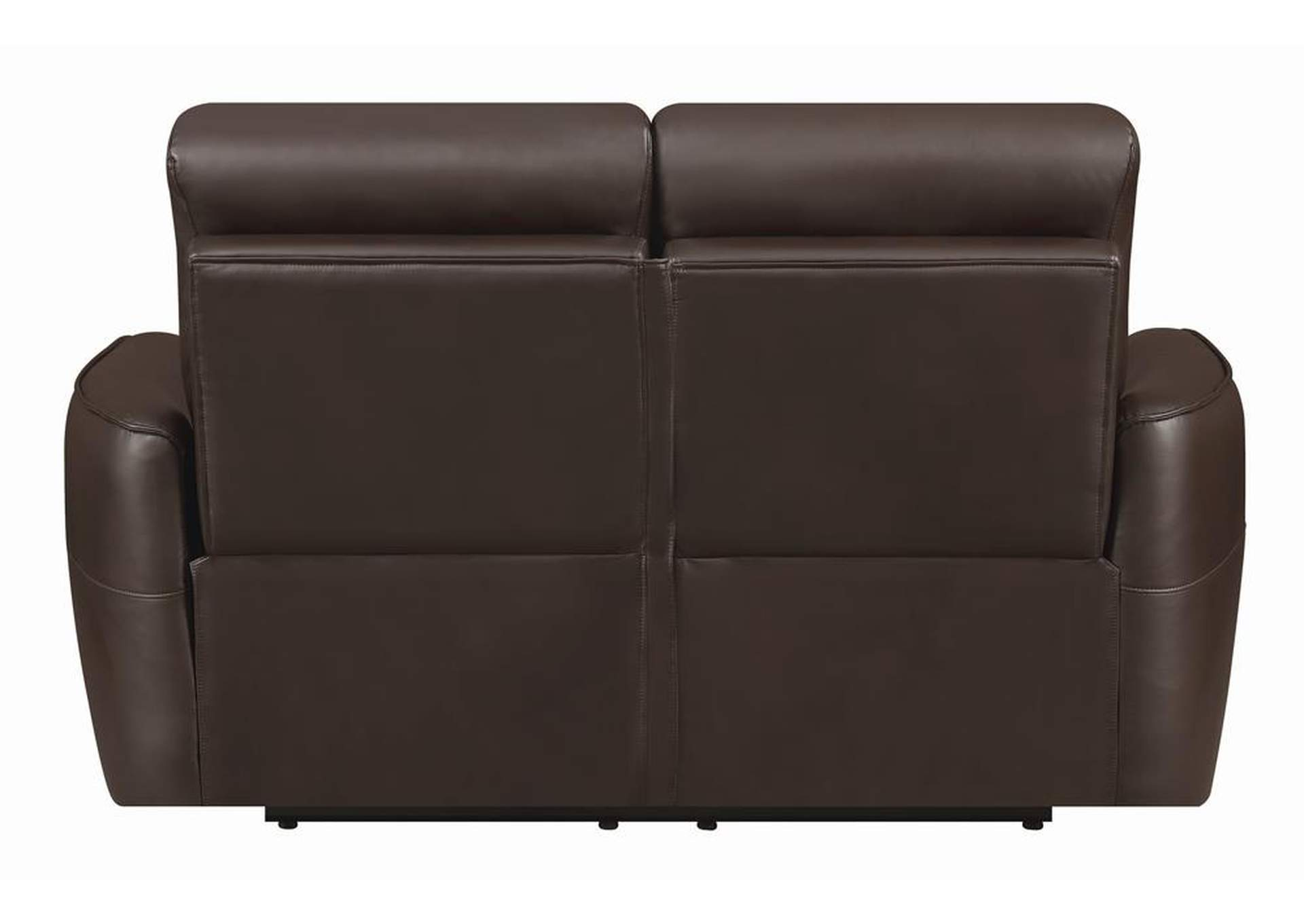 Dark Brown Power Reclining Leather Loveseat,Coaster Furniture
