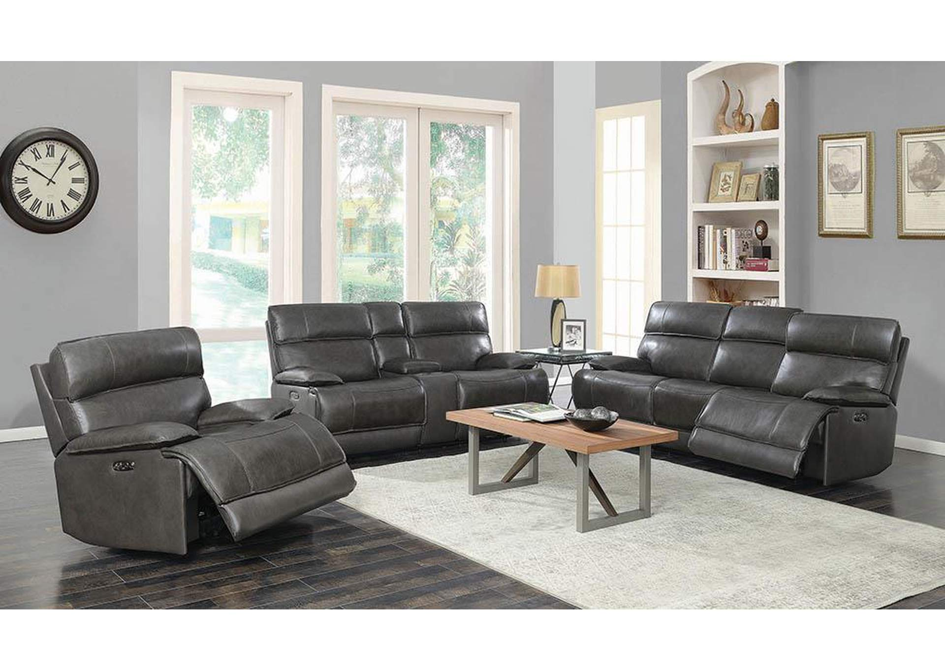 Stanford Charcoal Power Reclining Sofa w/Bluetooth Remote Connectivity,Coaster Furniture
