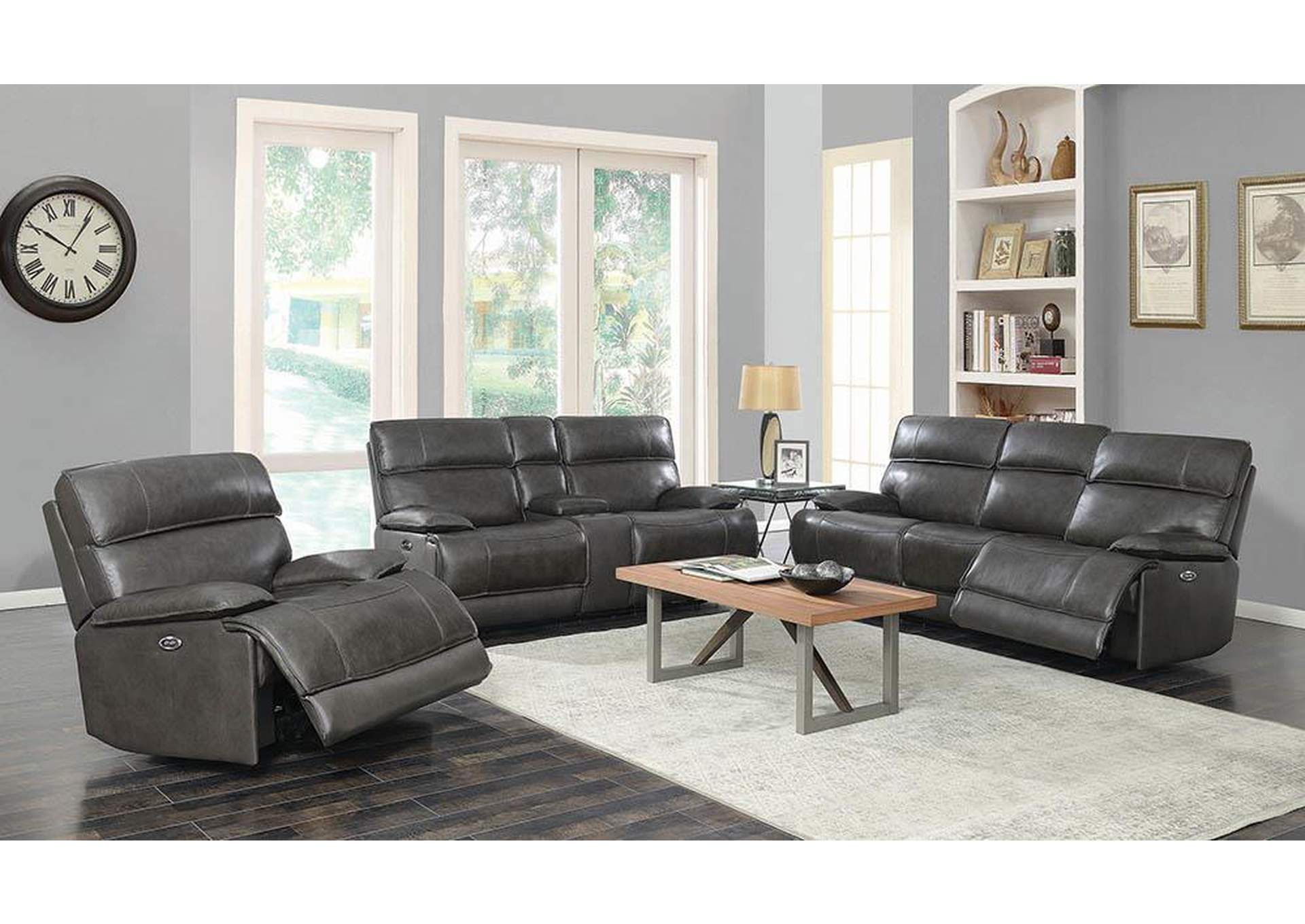 Pleasant Furniture Deals Usa Stanford Charcoal Power Reclining Bralicious Painted Fabric Chair Ideas Braliciousco