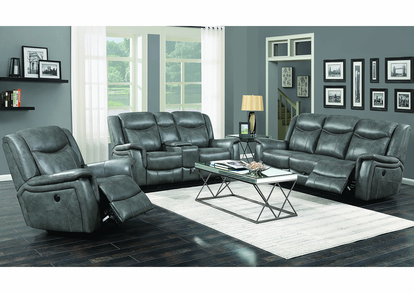 Conrad Grey Power Reclining Loveseat,Coaster Furniture