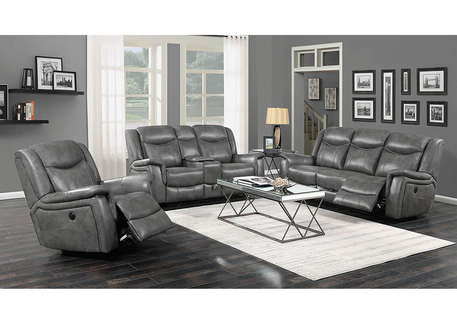 Conrad Grey Reclining Loveseat,Coaster Furniture