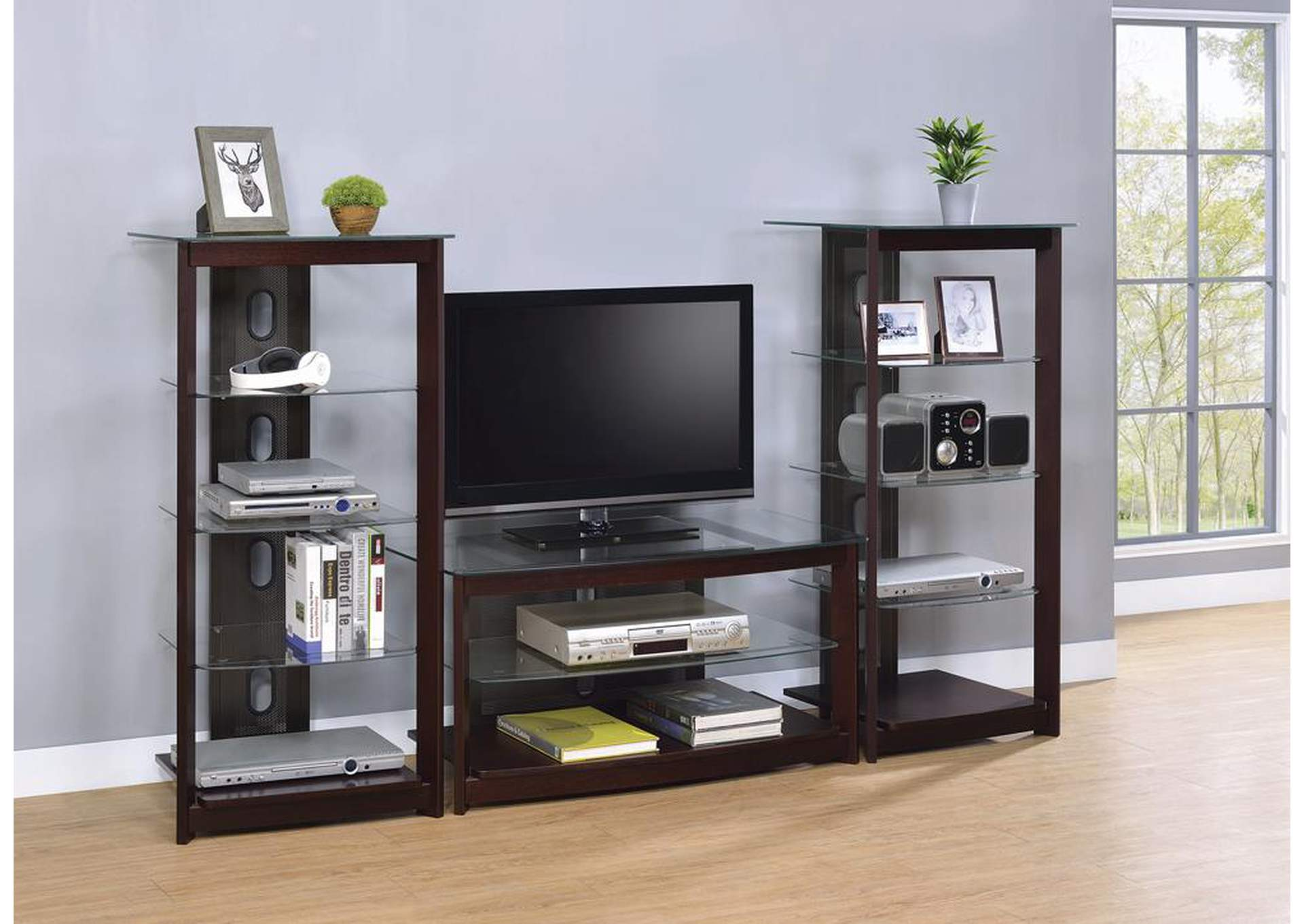 Dark Brown Media Tower w/Glass Shelves,Coaster Furniture