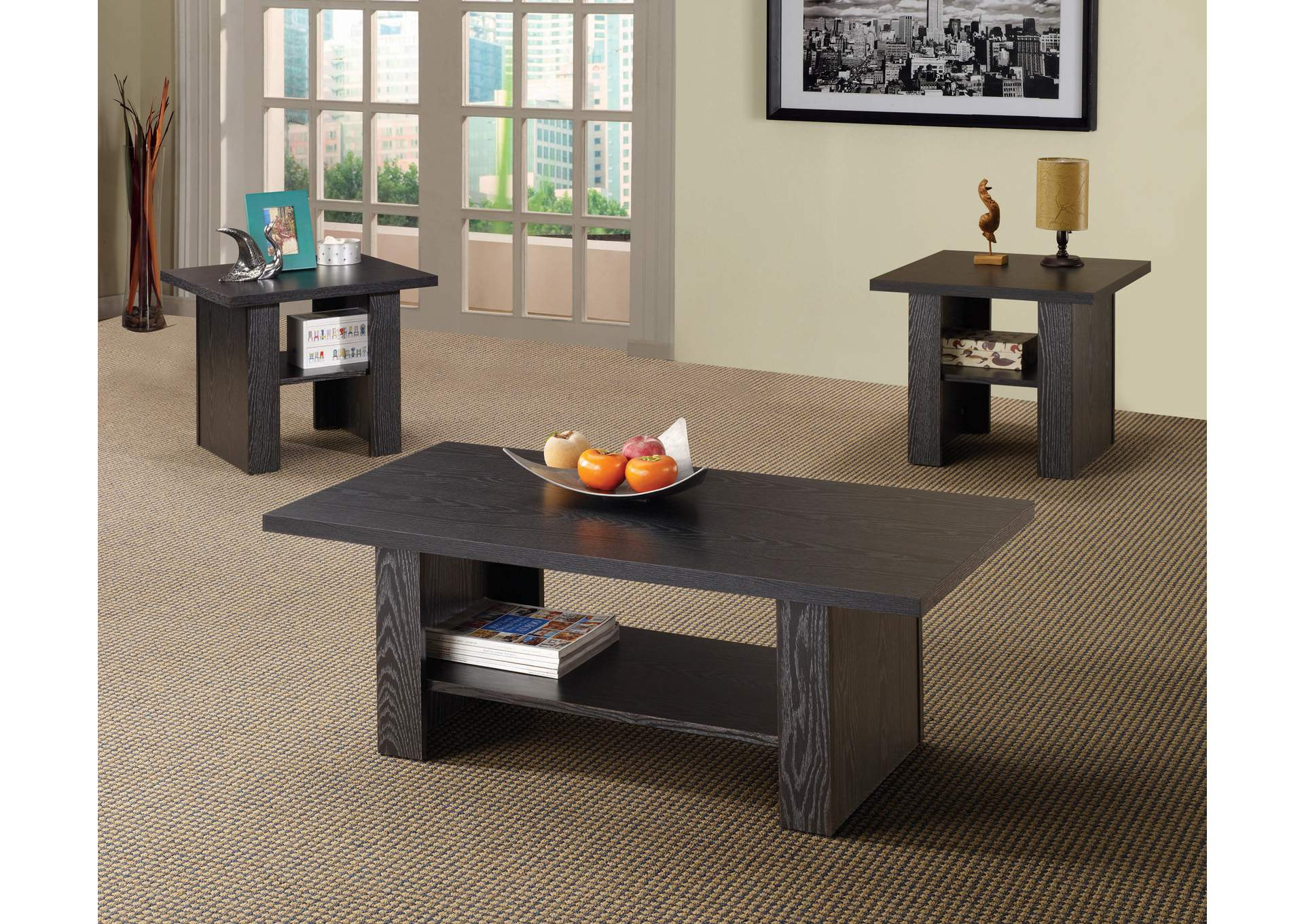 Black Oak Contemporary Three-Piece Occasional Table Set,Coaster Furniture