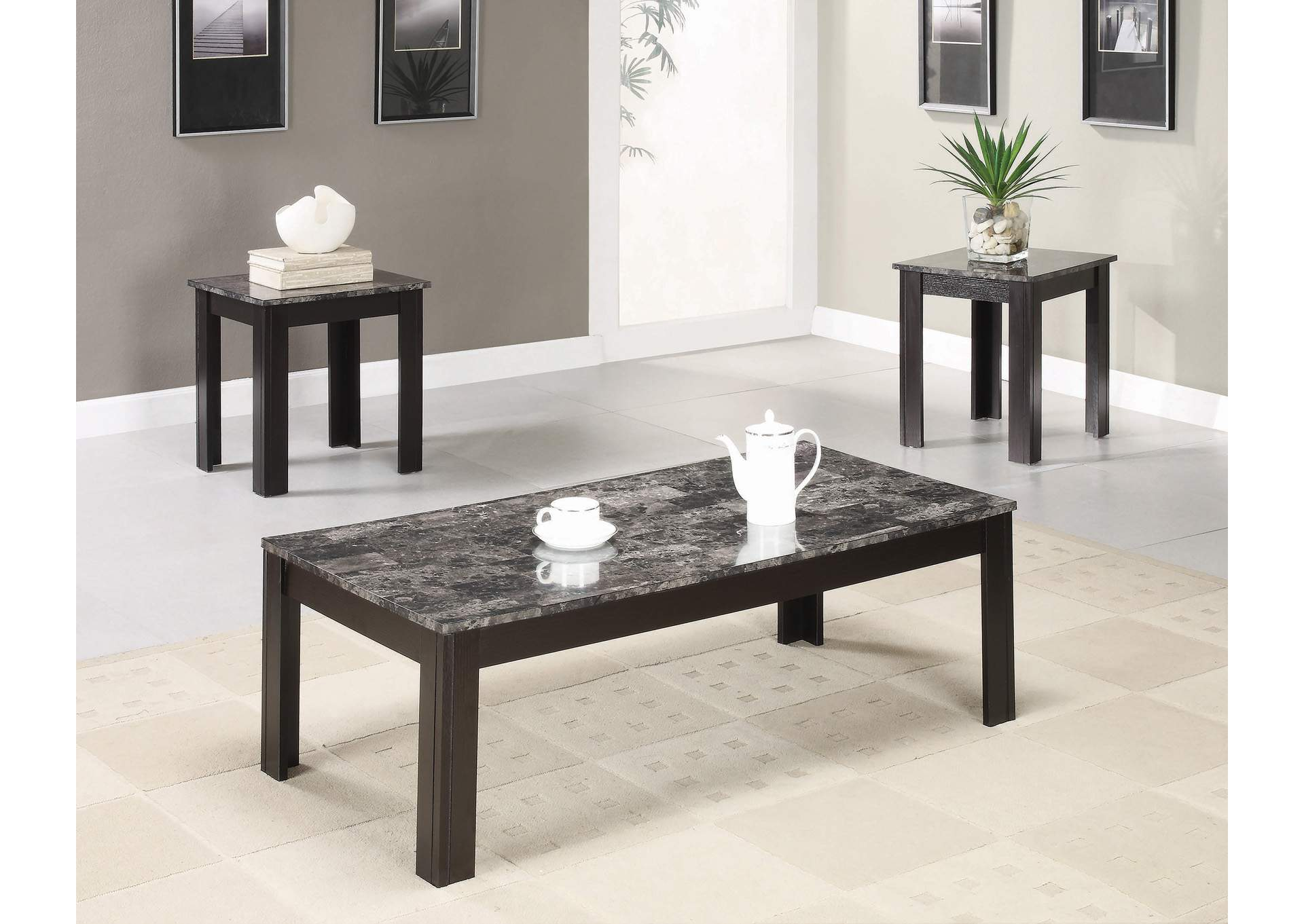 Finish Marble Looking 3pc Table Set,Coaster Furniture