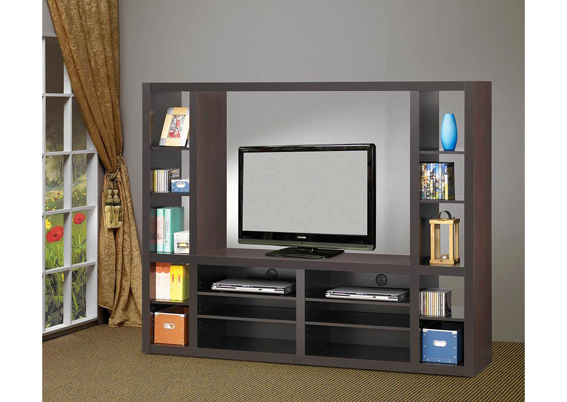 Cappuccino Entertainment Unit,Coaster Furniture