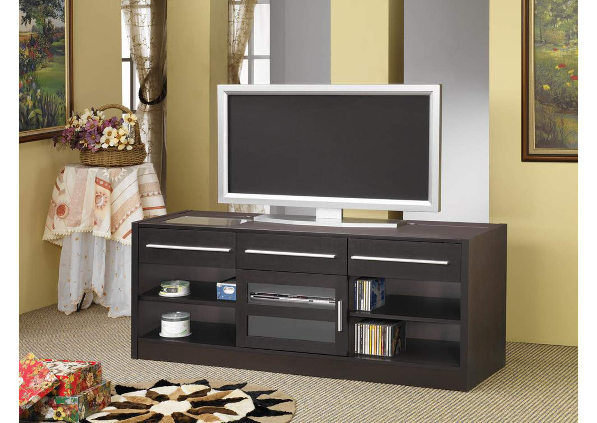Cappuccino TV Console w/Connect-It Power Drawer,Coaster Furniture