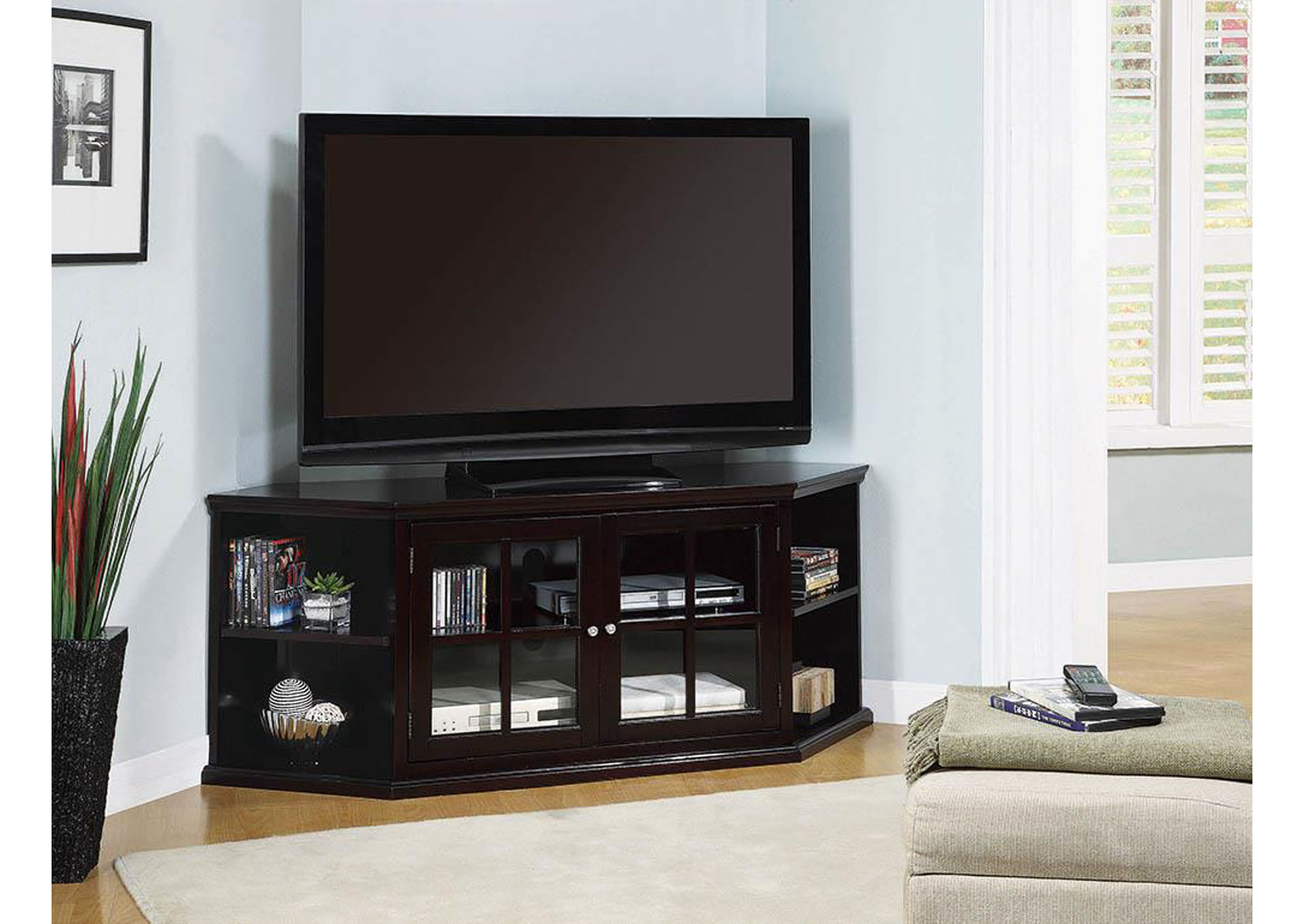 Espresso Corner TV Console,Coaster Furniture
