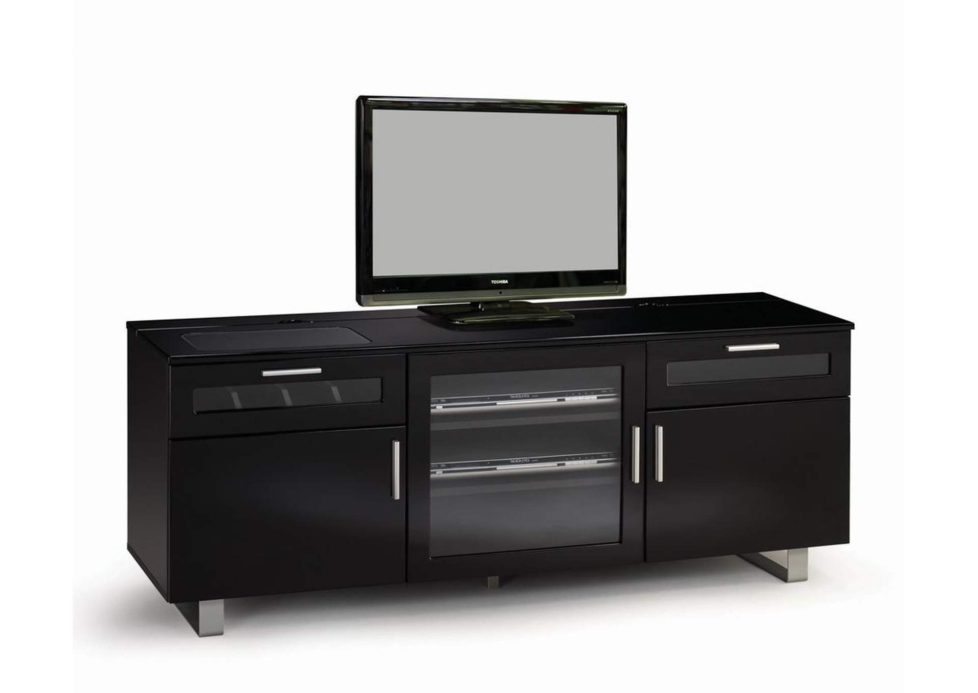 Black Contemporary Black Enclosed TV Console,Coaster Furniture