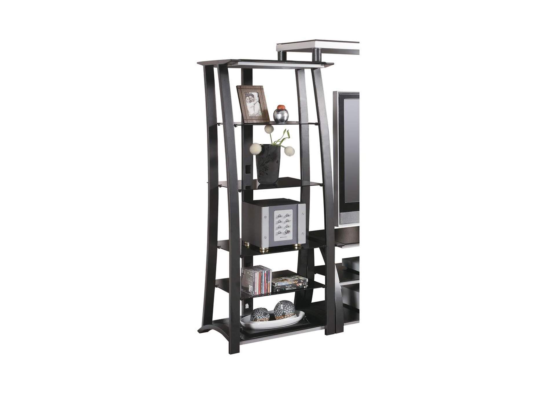Mine Shaft Contemporary Matte Black Media Tower,Coaster Furniture