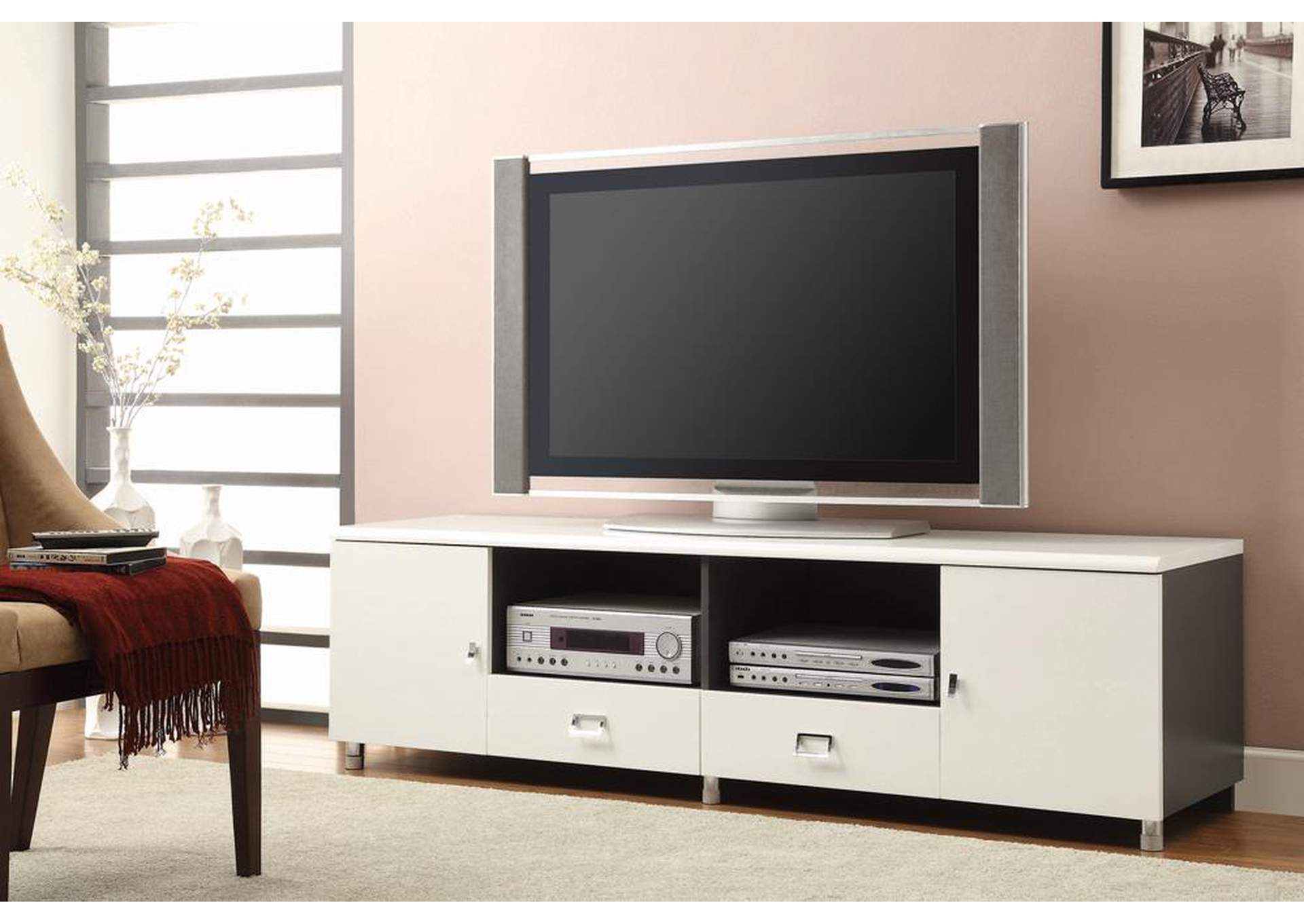 White 42 TV Console,Coaster Furniture