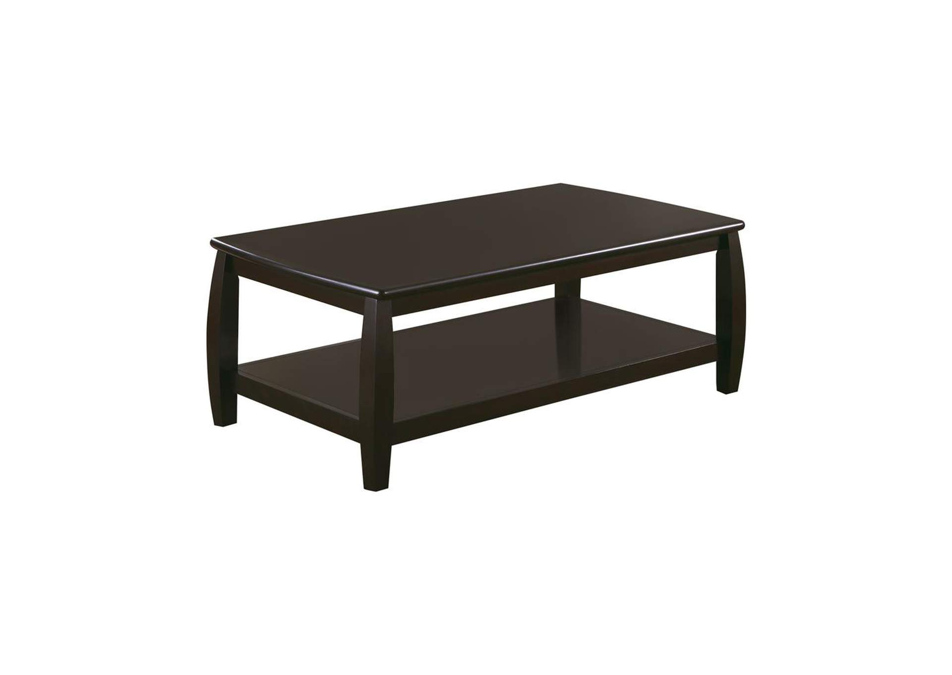 Cappuccino Wood Top Espresso Coffee Table,Coaster Furniture