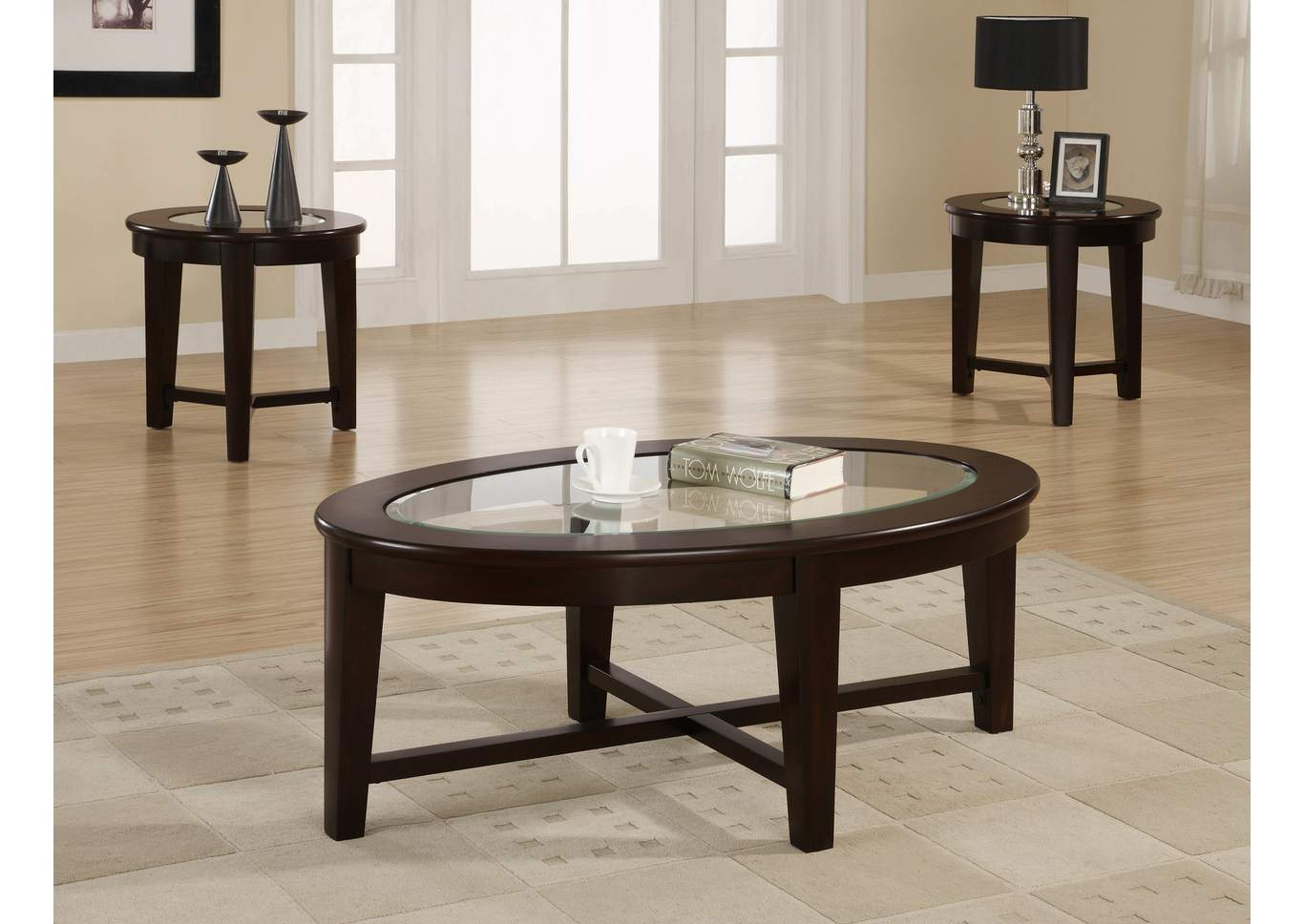 Cappuccino Three-Piece Occasional Table Set,Coaster Furniture