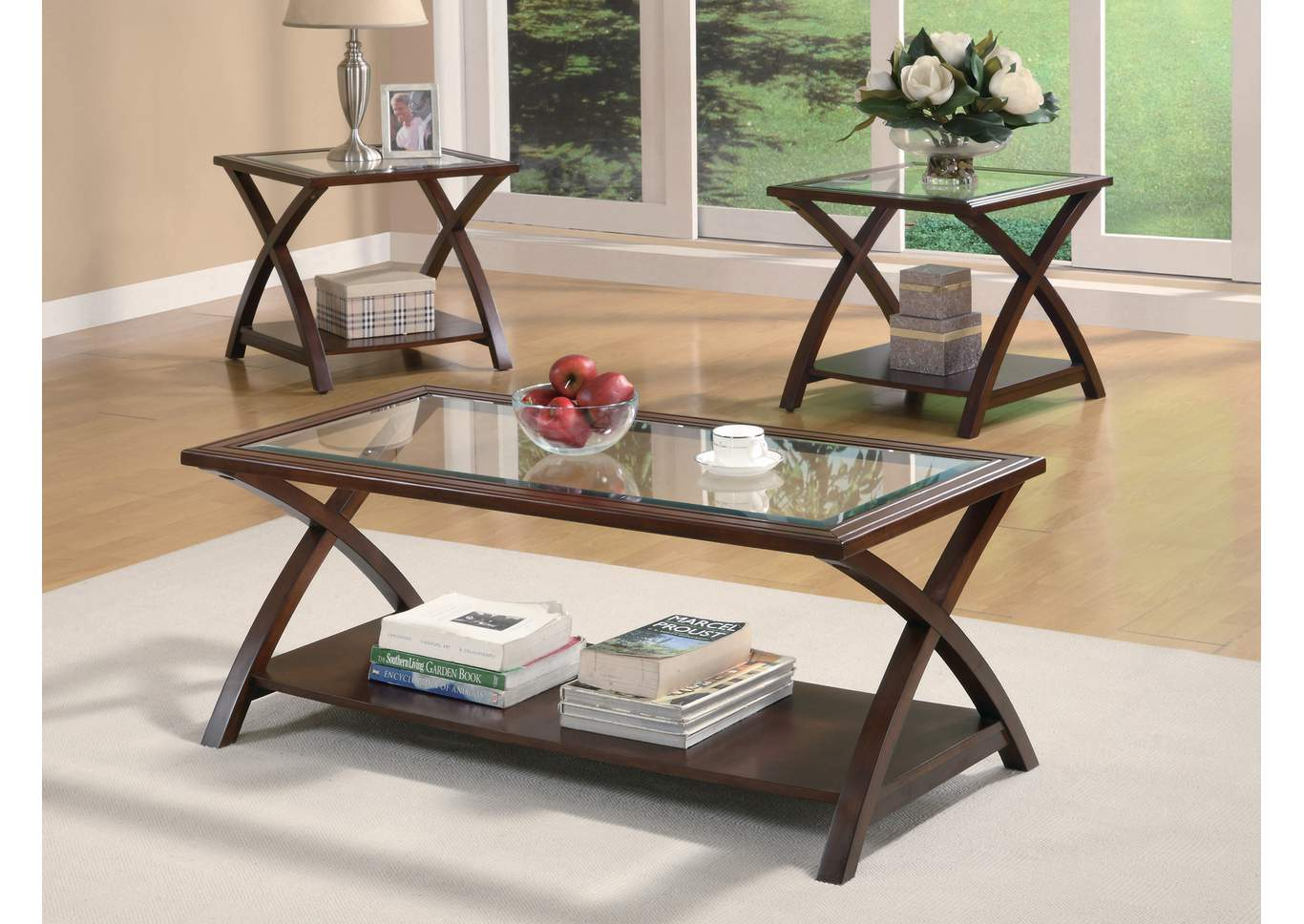 Cappuccino Transitional Three-Piece Occasional Table Set,Coaster Furniture
