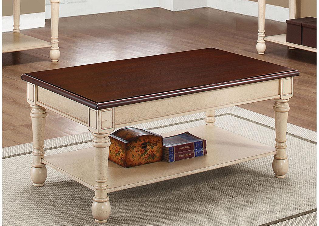Danto Furniture Dark Cherry/ Antique White Coffee Table
