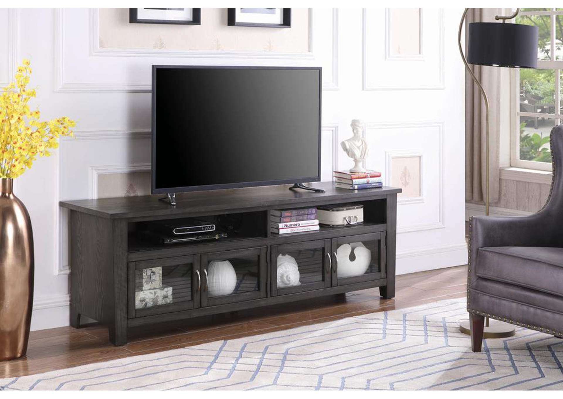 Dark Grey Wooden 72 Inch Tv Console,Coaster Furniture