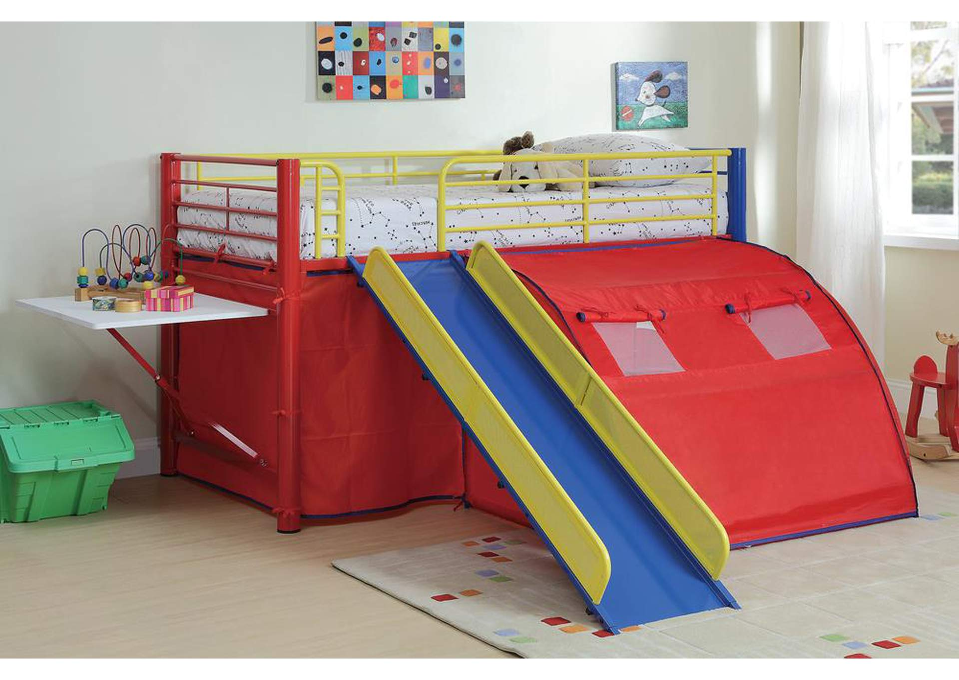 Twin Bunkbed w/Slide & Tent,Coaster Furniture