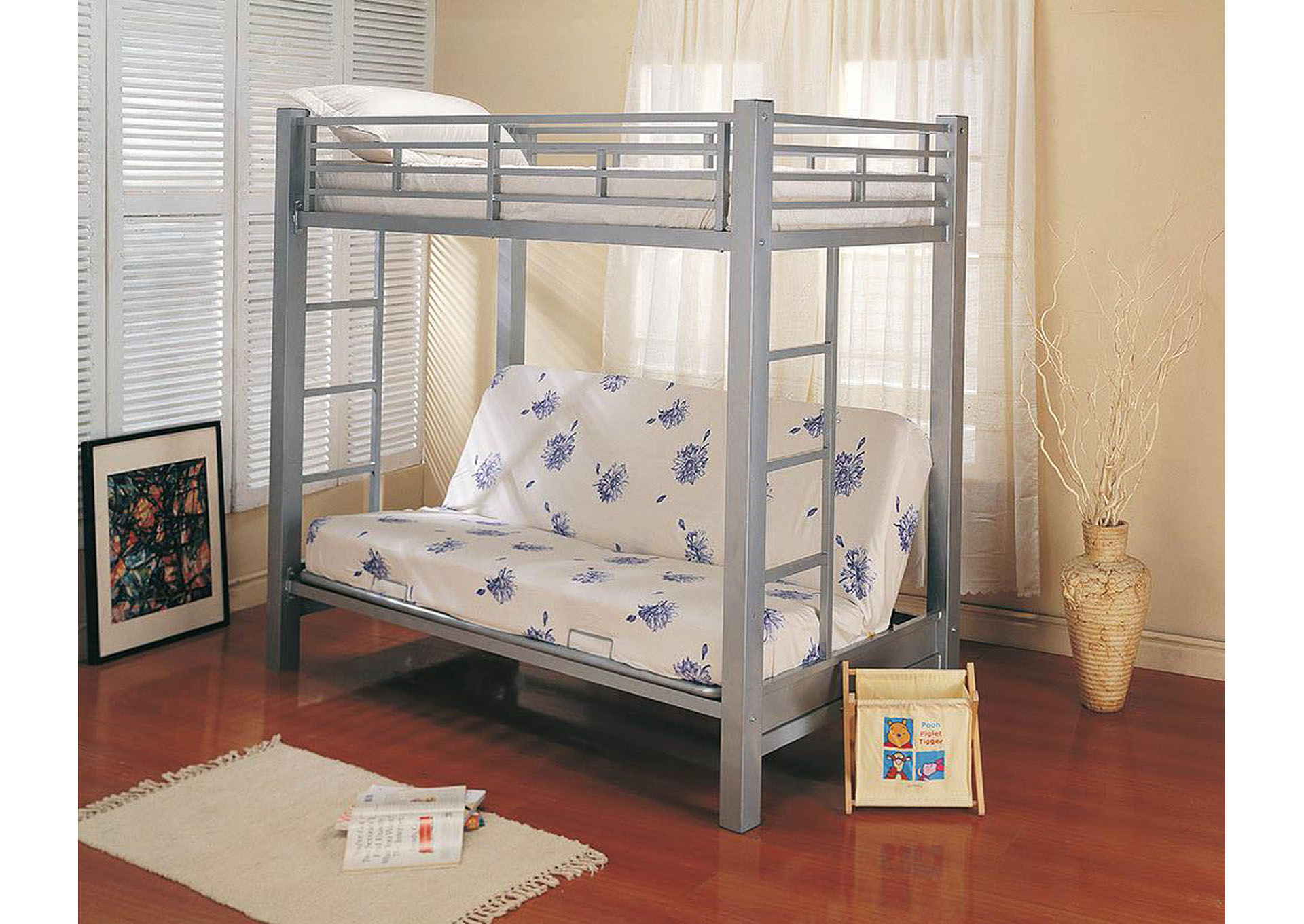 Twin/Full Bunkbed w/Futon (Metal),Coaster Furniture