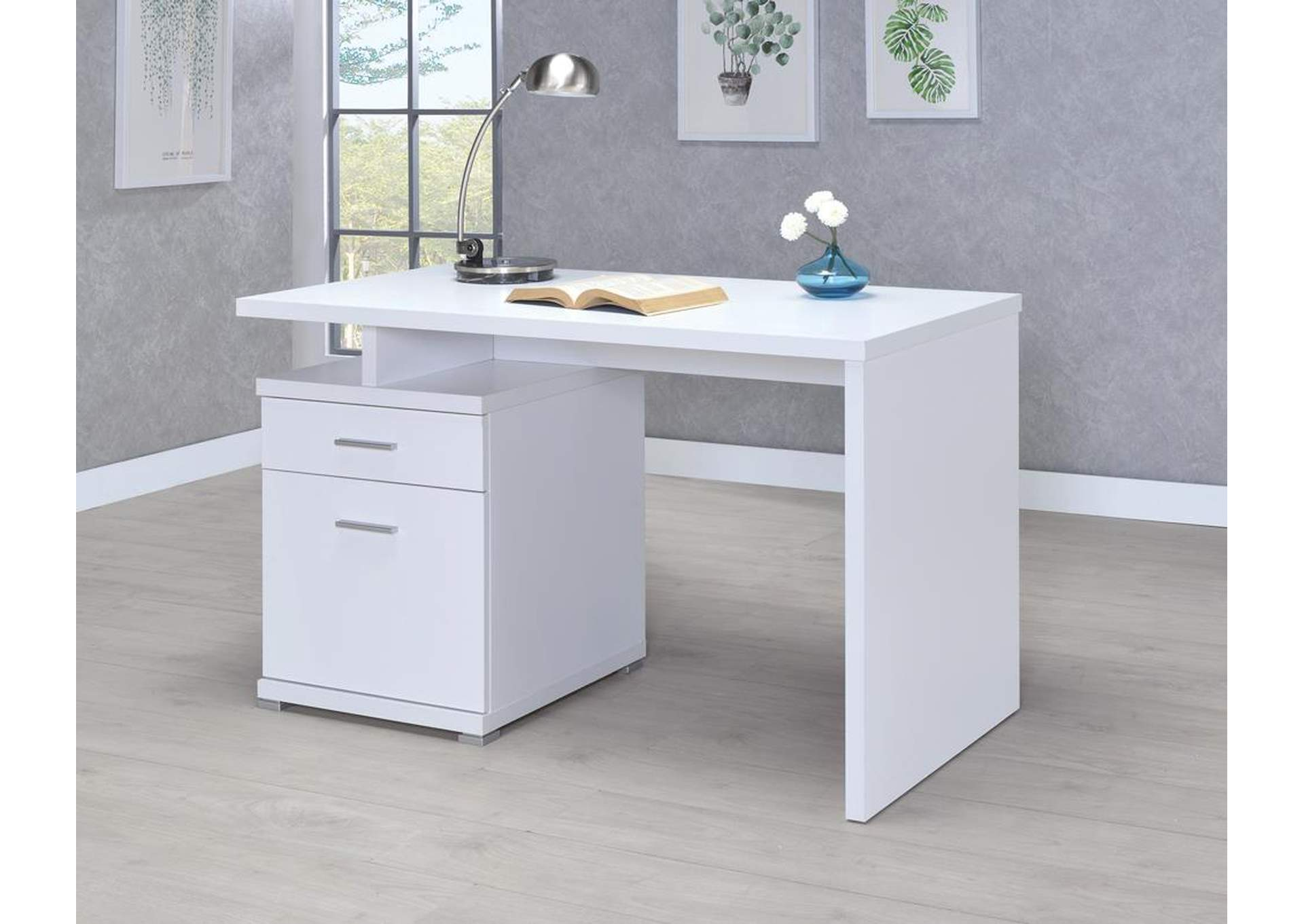 White Executive Desk,Coaster Furniture