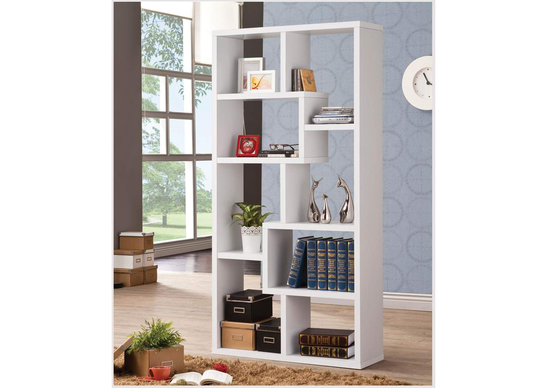 White Bookcase,Coaster Furniture