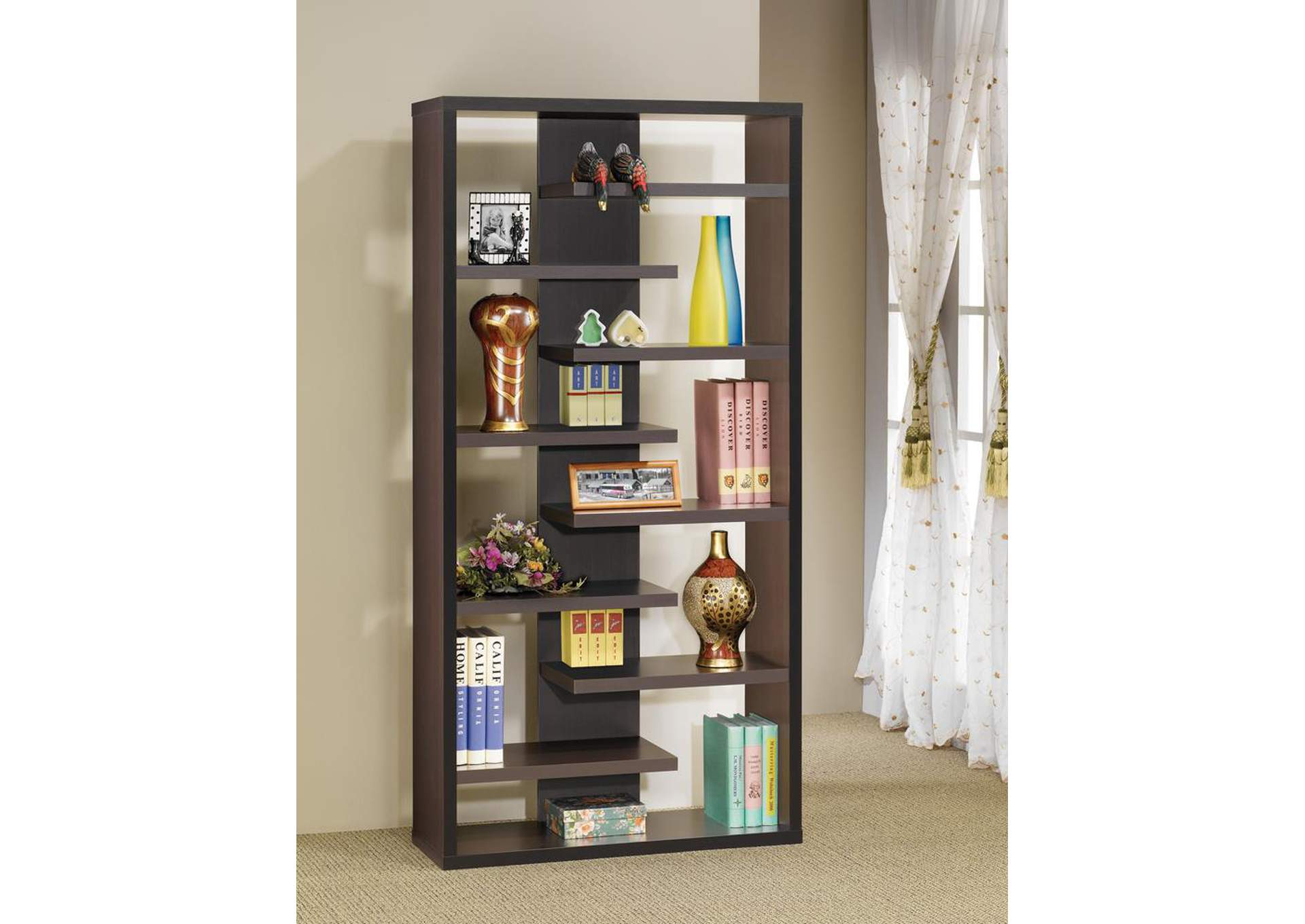 Dark Cappuccino Bookcase,Coaster Furniture