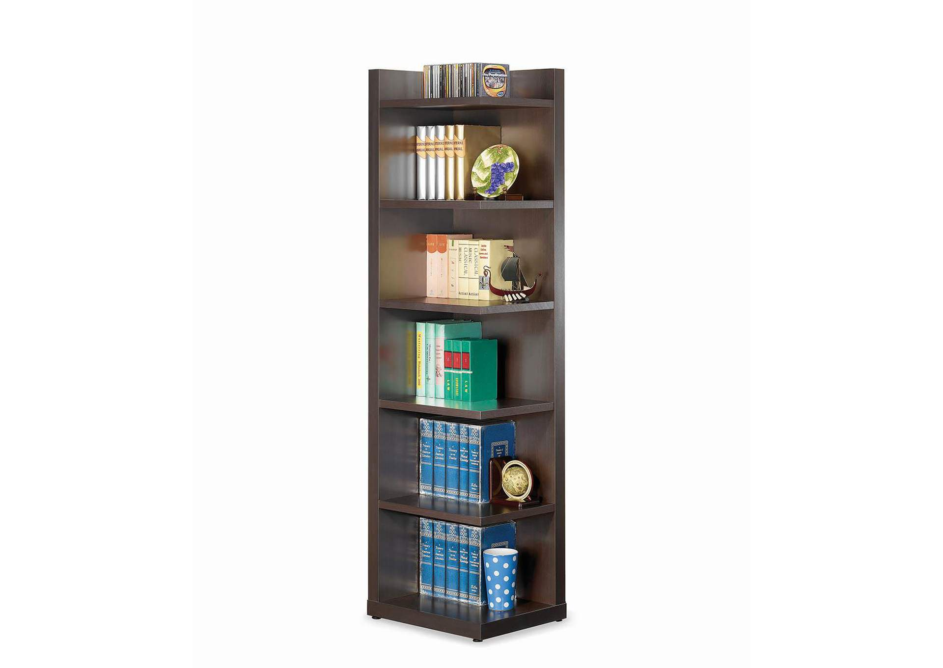 Cappuccino Corner Bookcase,Coaster Furniture
