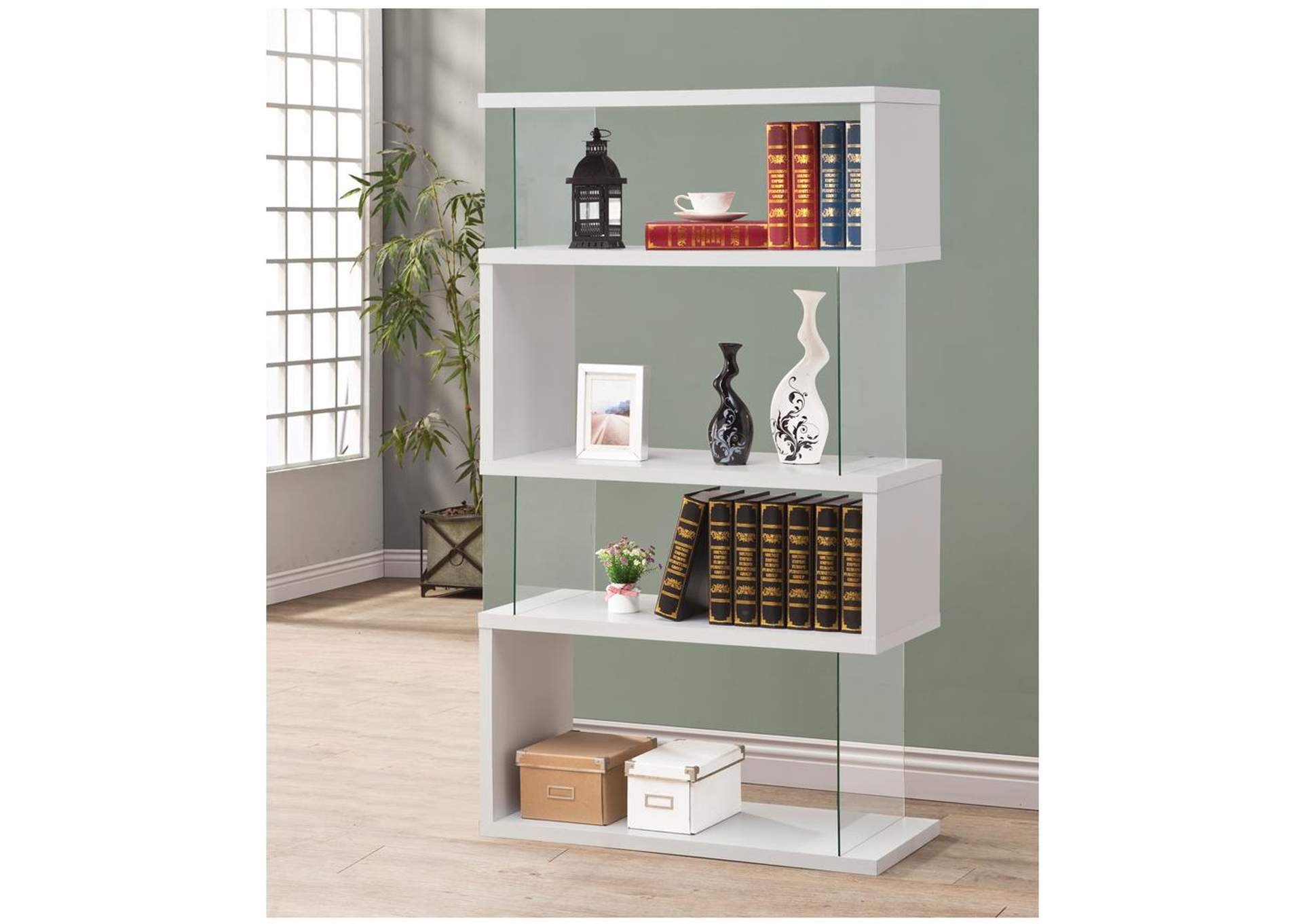 White Asymmetrical Bookcase,Coaster Furniture