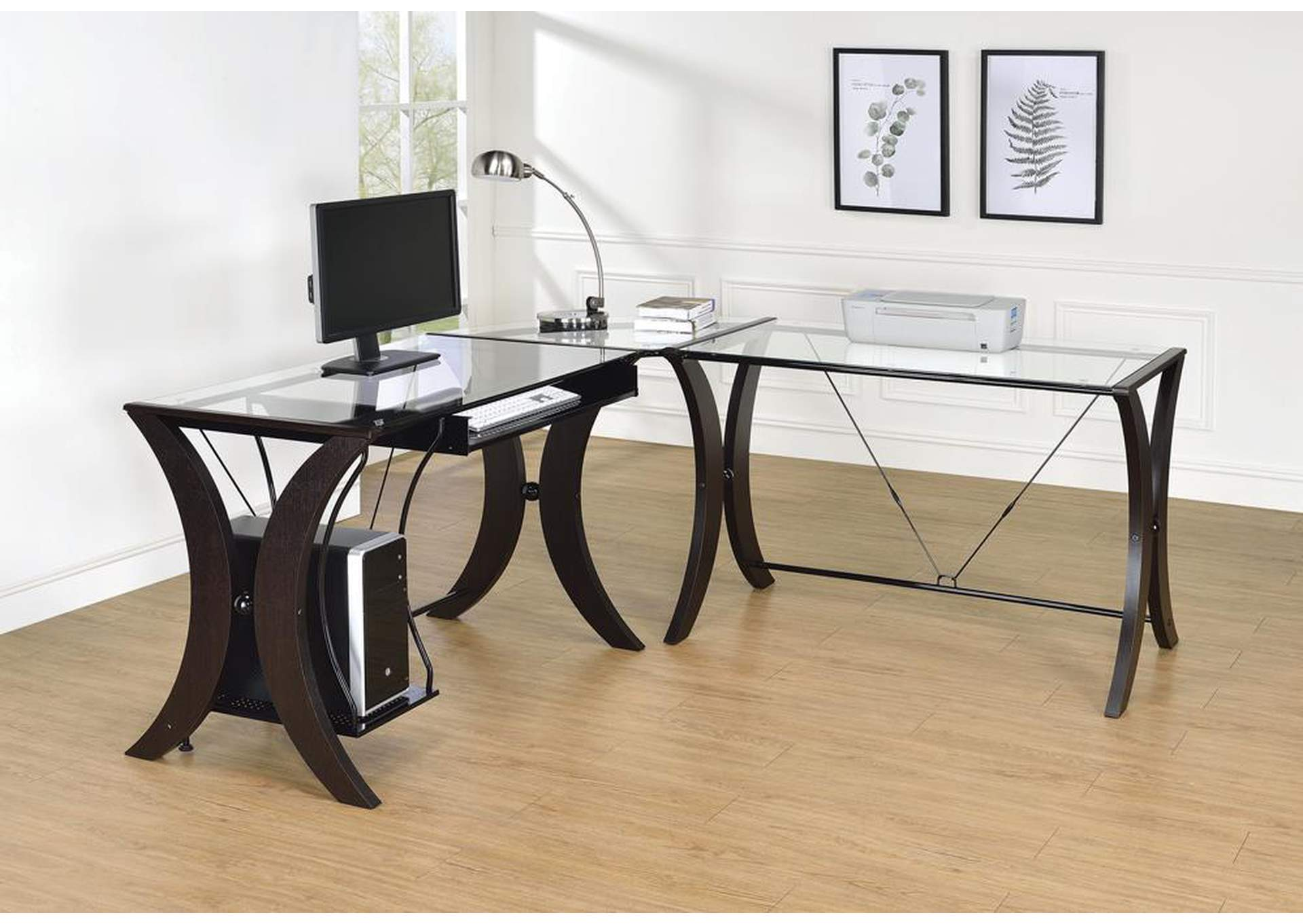 Glass Top 3pc Computer Desk Set,Coaster Furniture