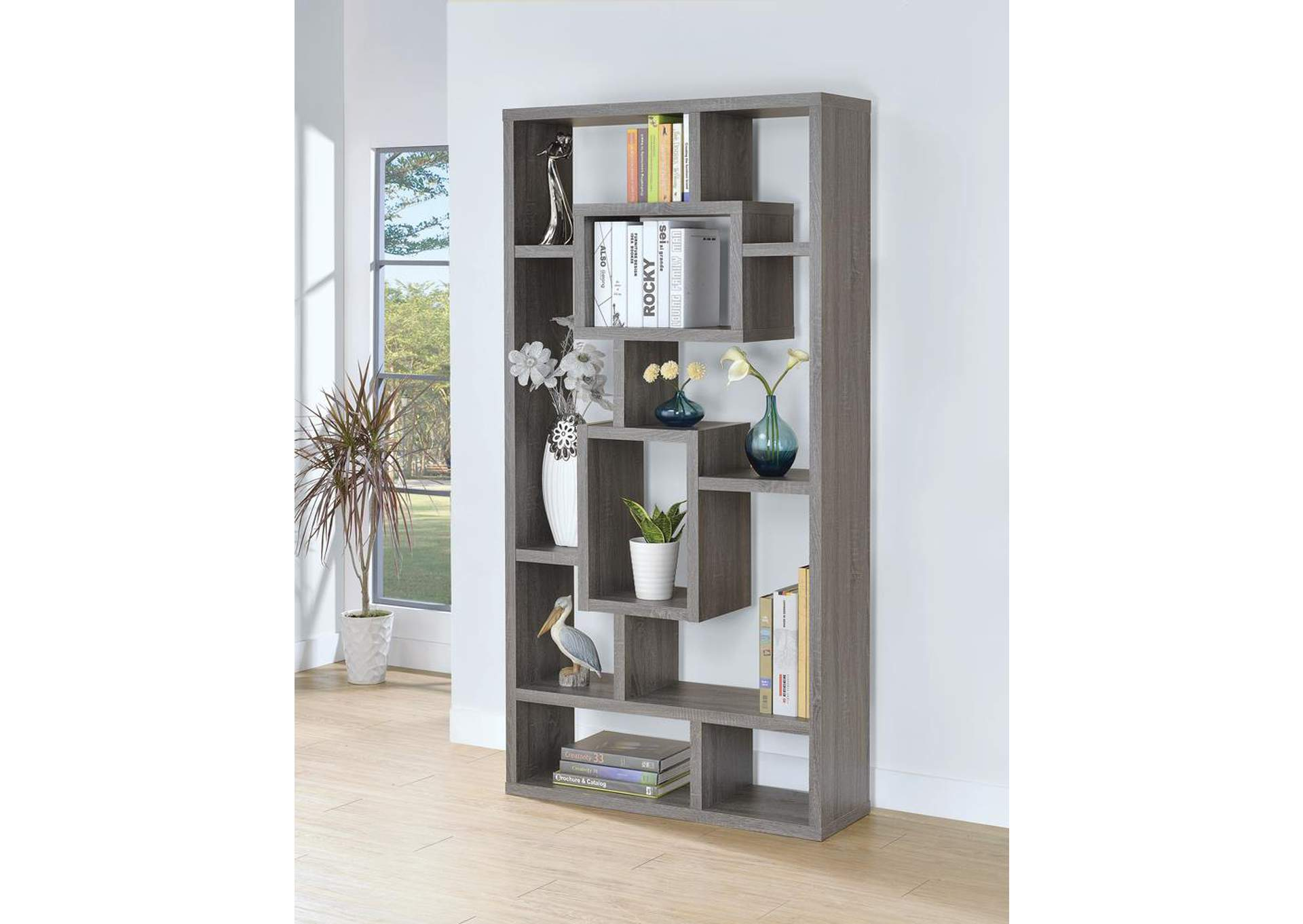 Dark Grey Bookcase,Coaster Furniture