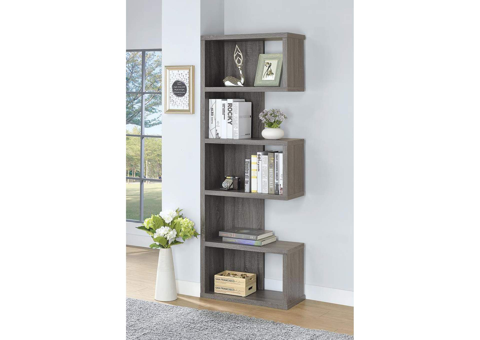 Dark Grey Bookshelf,Coaster Furniture