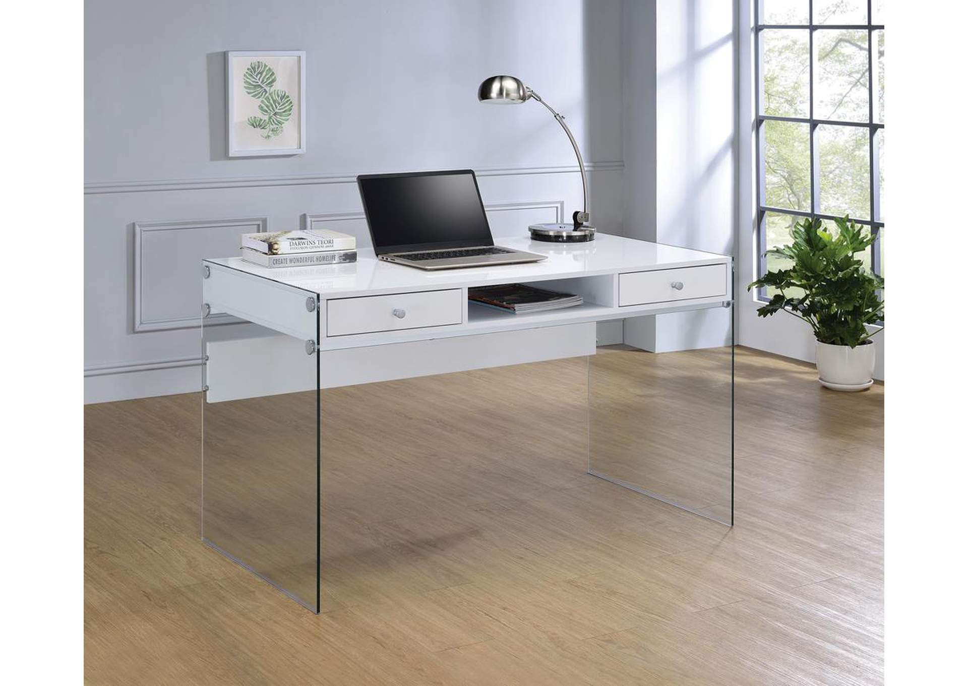 Glossy White Computer Desk,Coaster Furniture