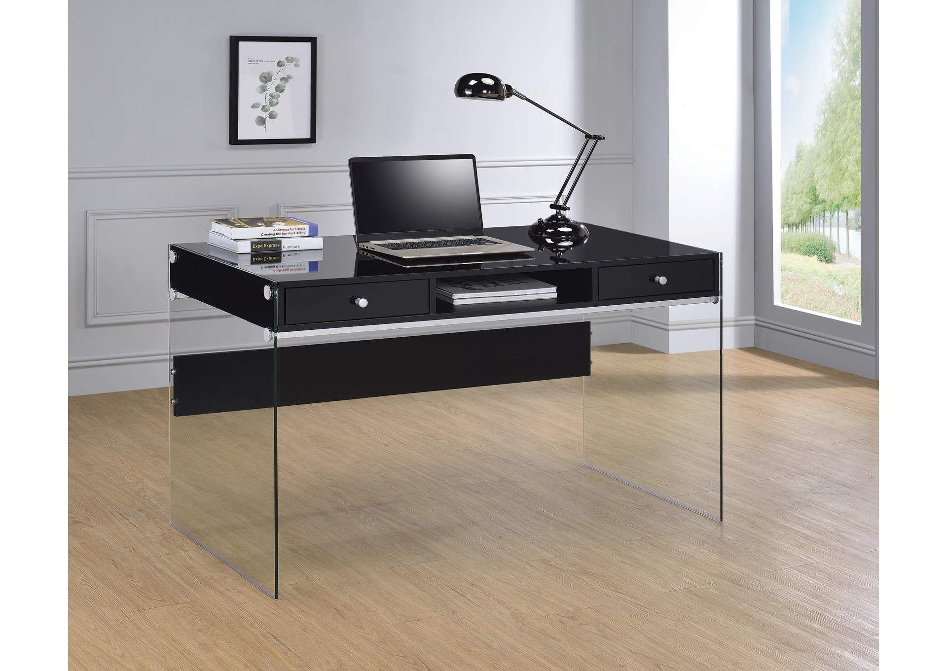 Glossy Black Computer Desk,Coaster Furniture