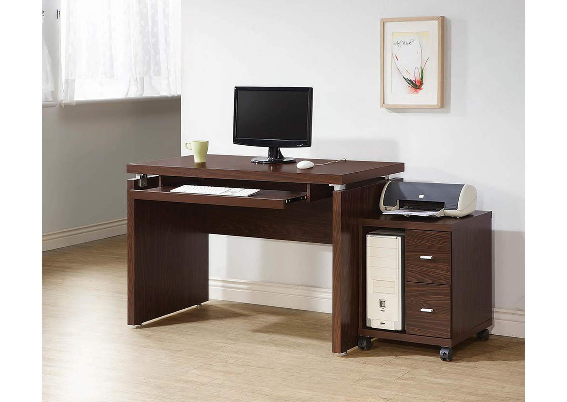 Medium Oak Computer Stand,Coaster Furniture
