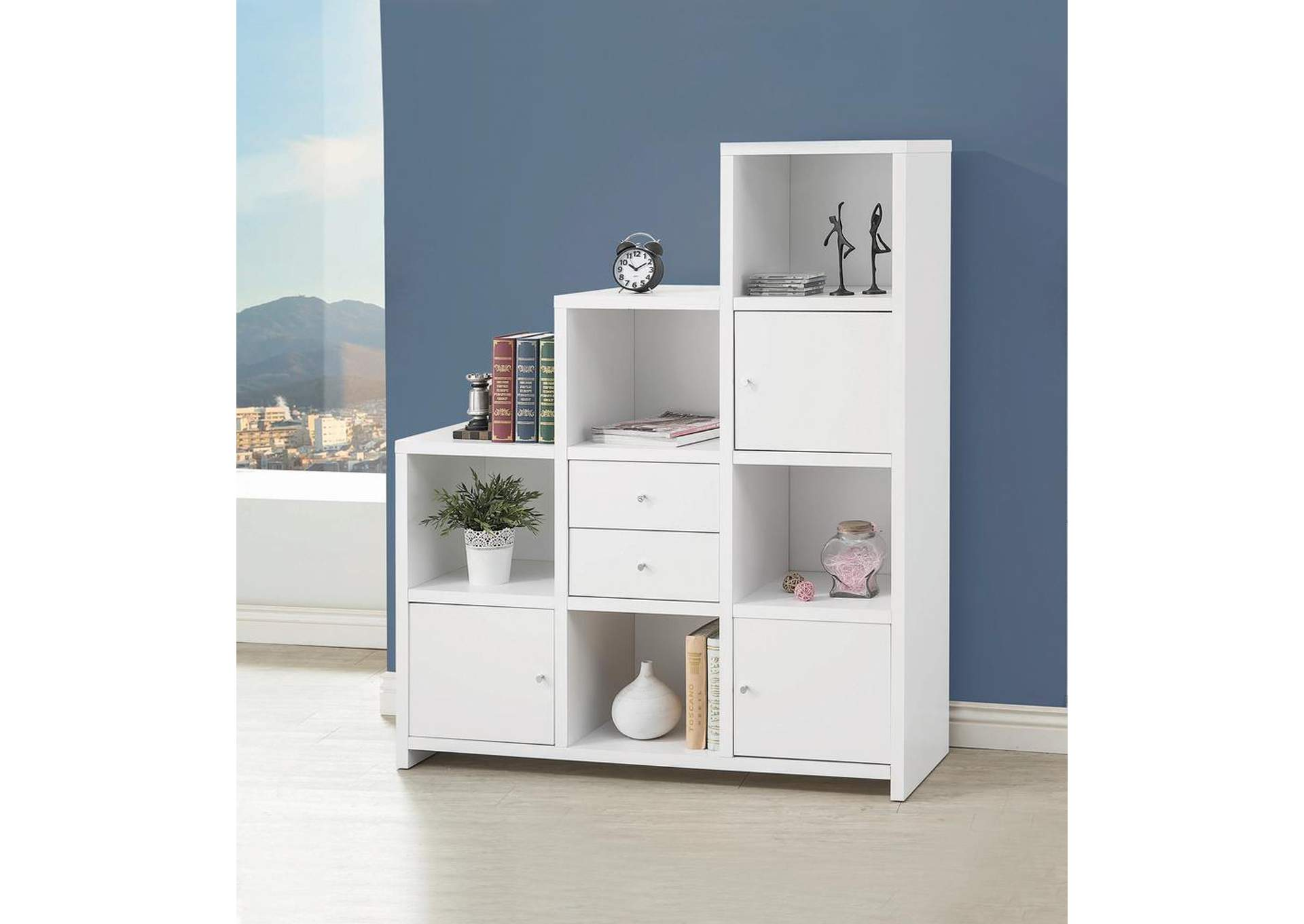 White Bookshelf,Coaster Furniture