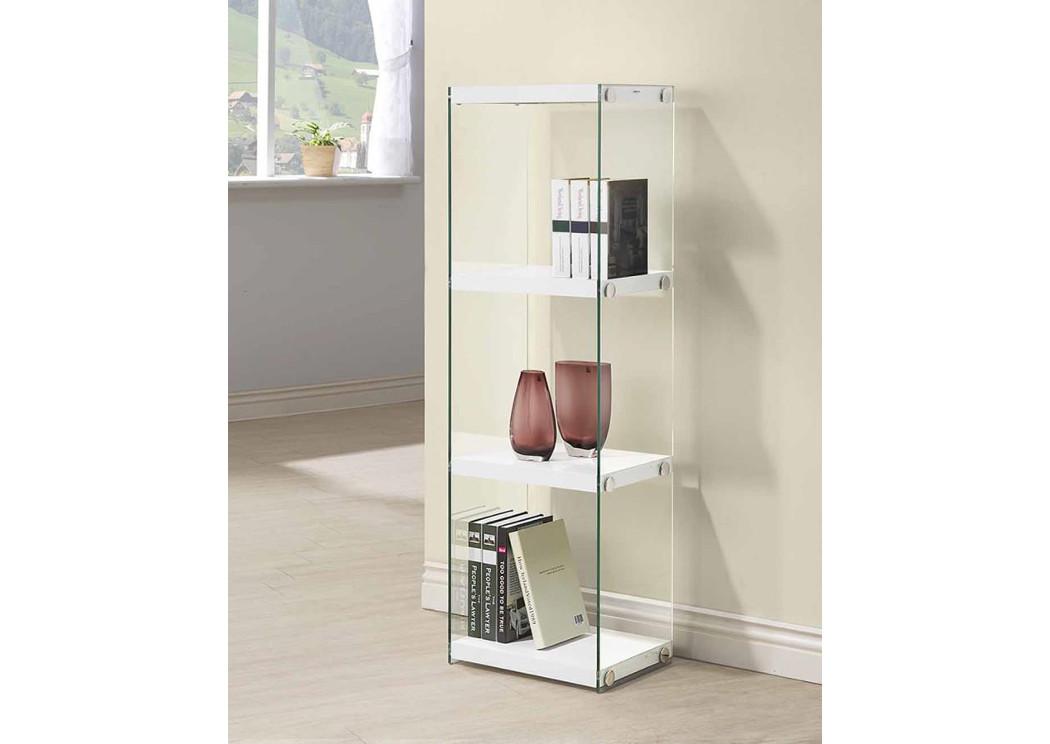 Glossy White Contemporary Glass Bookcase R F Furniture