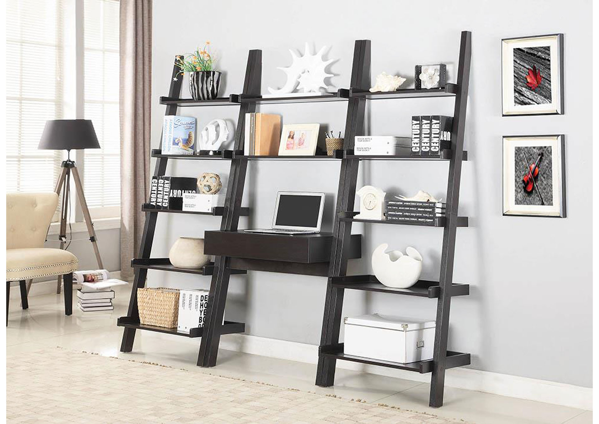 Cappuccino Wall-Leaning Ladder Desk,Coaster Furniture