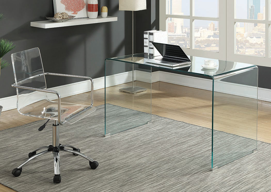 Clear Glass Writing Desk w/Office Chair,Coaster Furniture