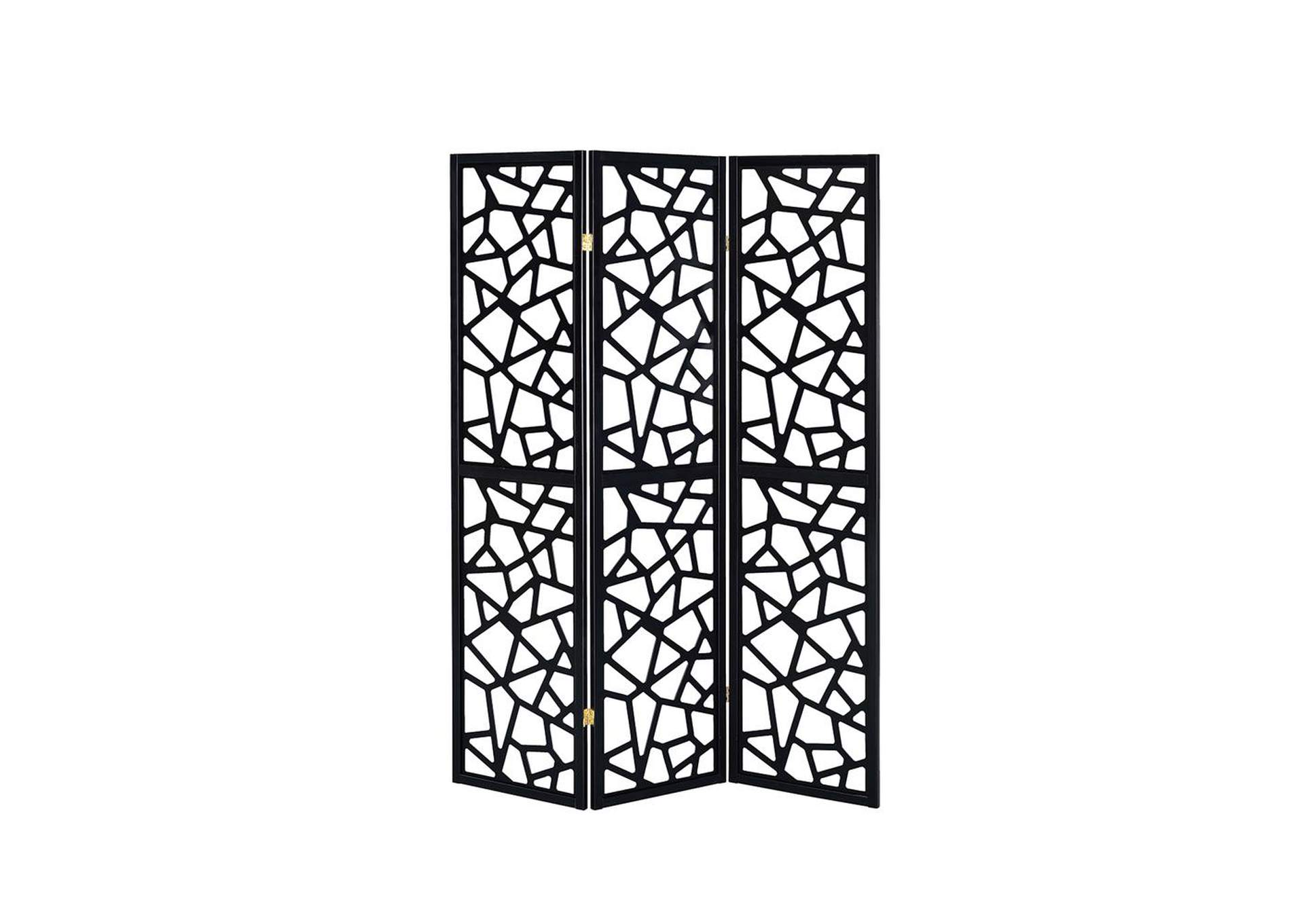 Shark Transitional Black Three-Panel Screen,Coaster Furniture
