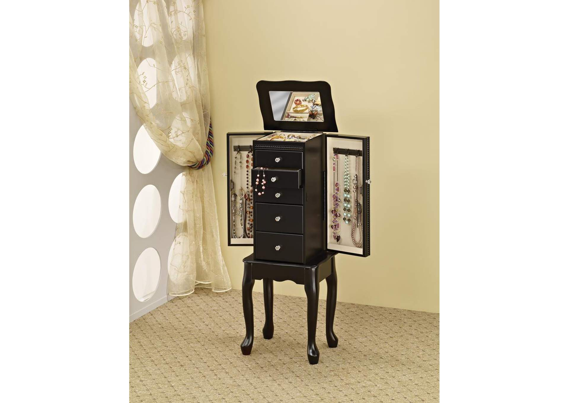 Queen Anne Black Jewelry Armoire,Coaster Furniture