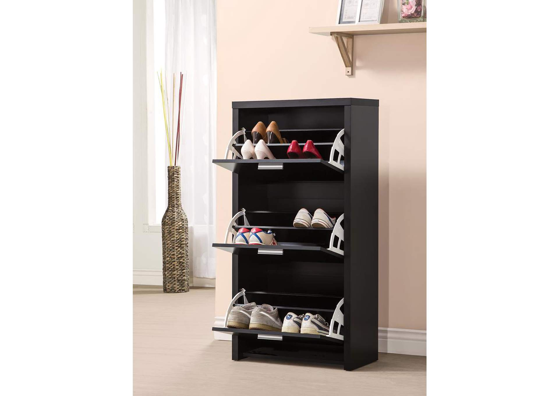 Black Transitional Black Shoe Rack,Coaster Furniture