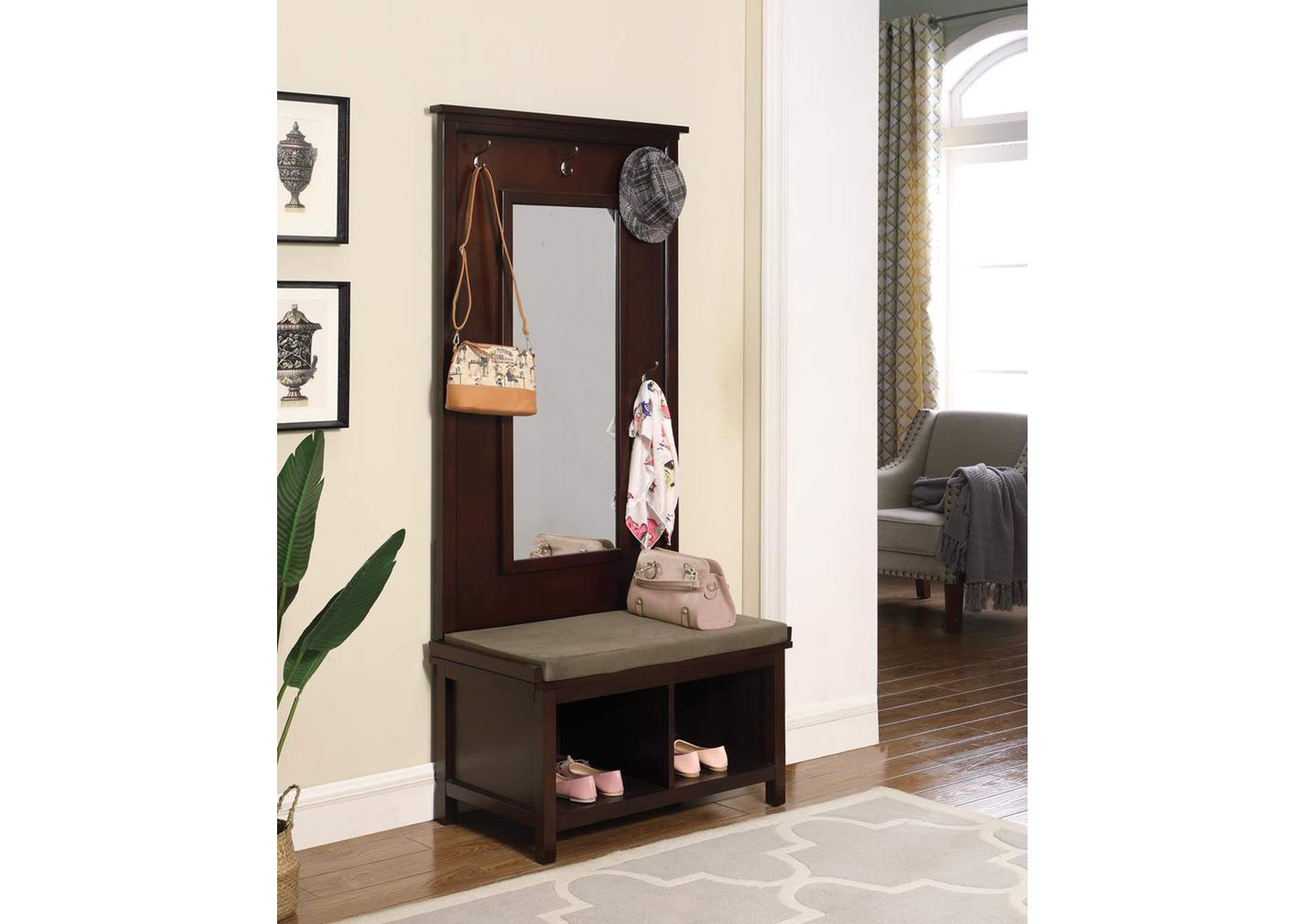 Raw Umber Hall Tree w/Mirror,Coaster Furniture