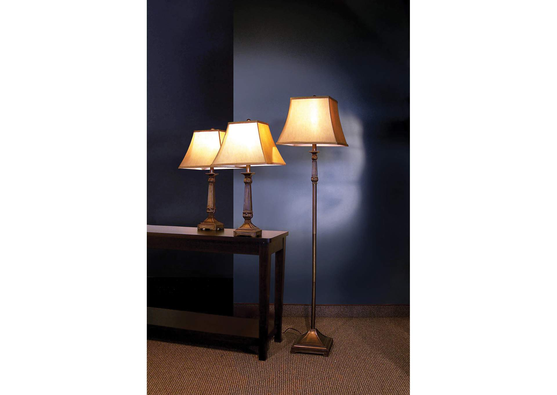 Brown 3 Piece Floor & Table Lamp Set,Coaster Furniture