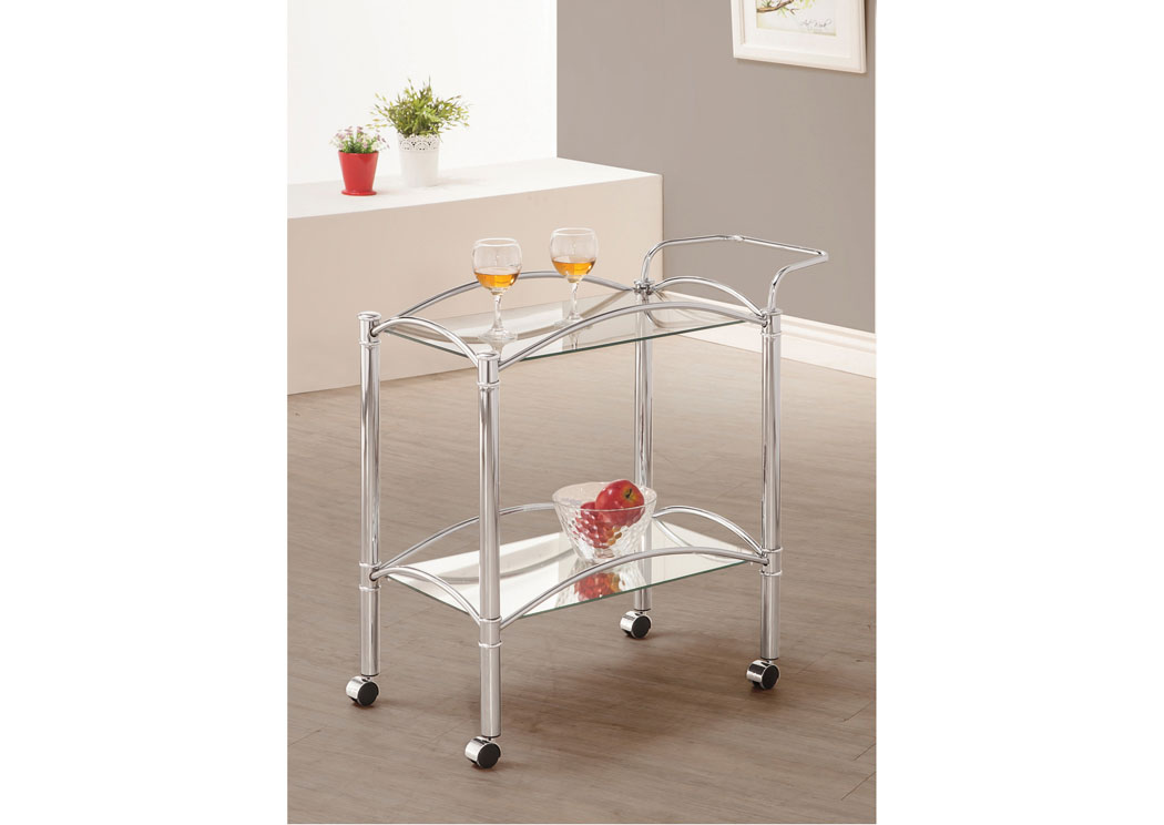 Dining Room. Chrome Serving Cart,Coaster Furniture