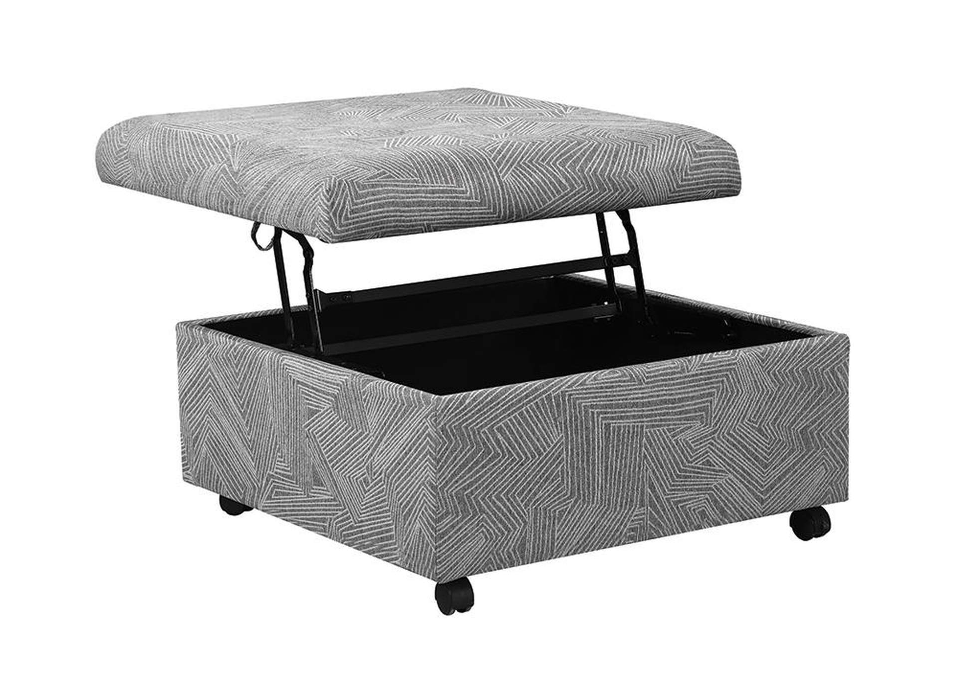 Grey Upholstered Patterned Ottoman,Coaster Furniture