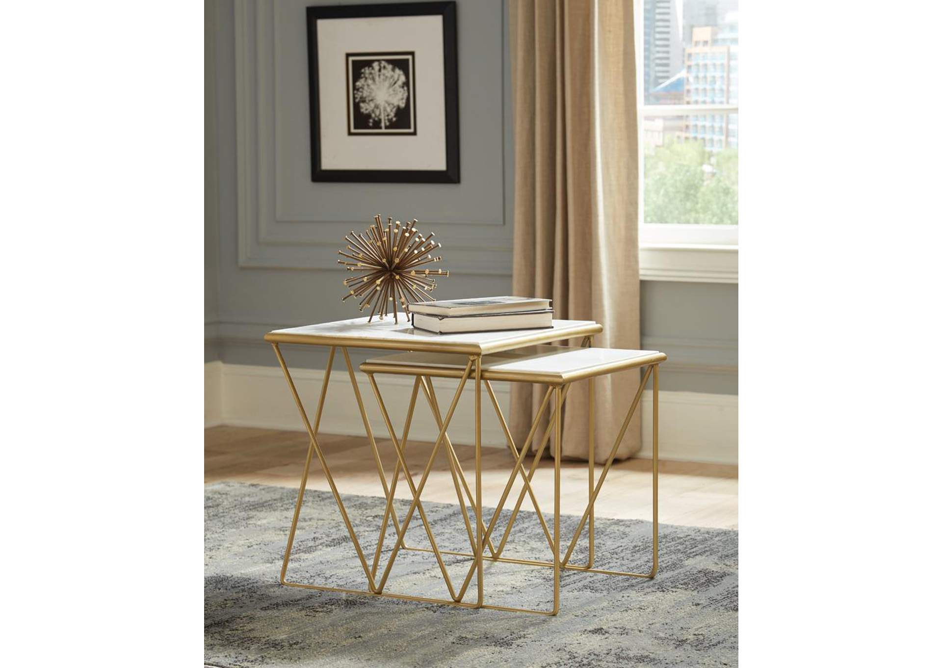 Gold Finish Nesting Tables,Coaster Furniture
