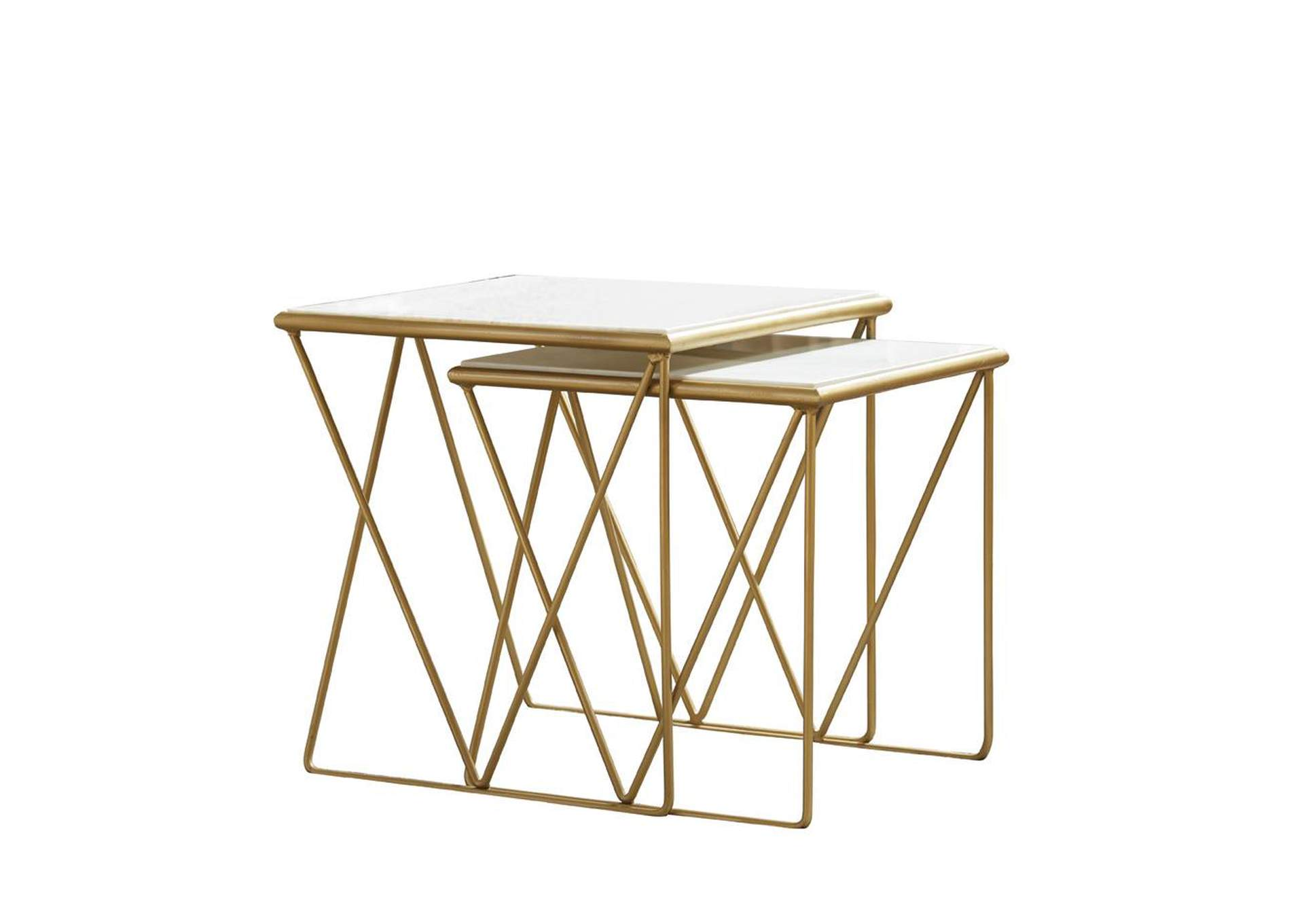 White Modern Marble and Gold Nesting Tables,Coaster Furniture