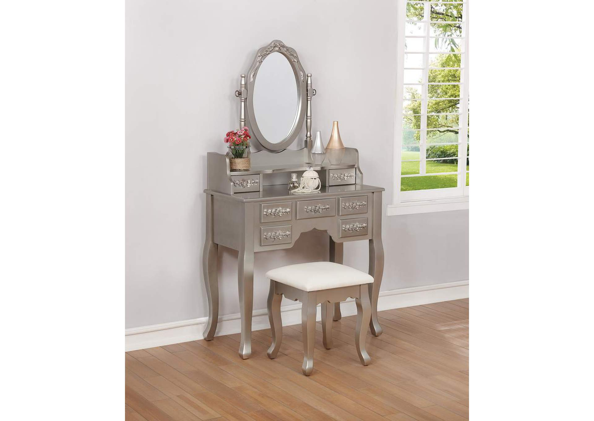 Silver/White Vanity Set,Coaster Furniture