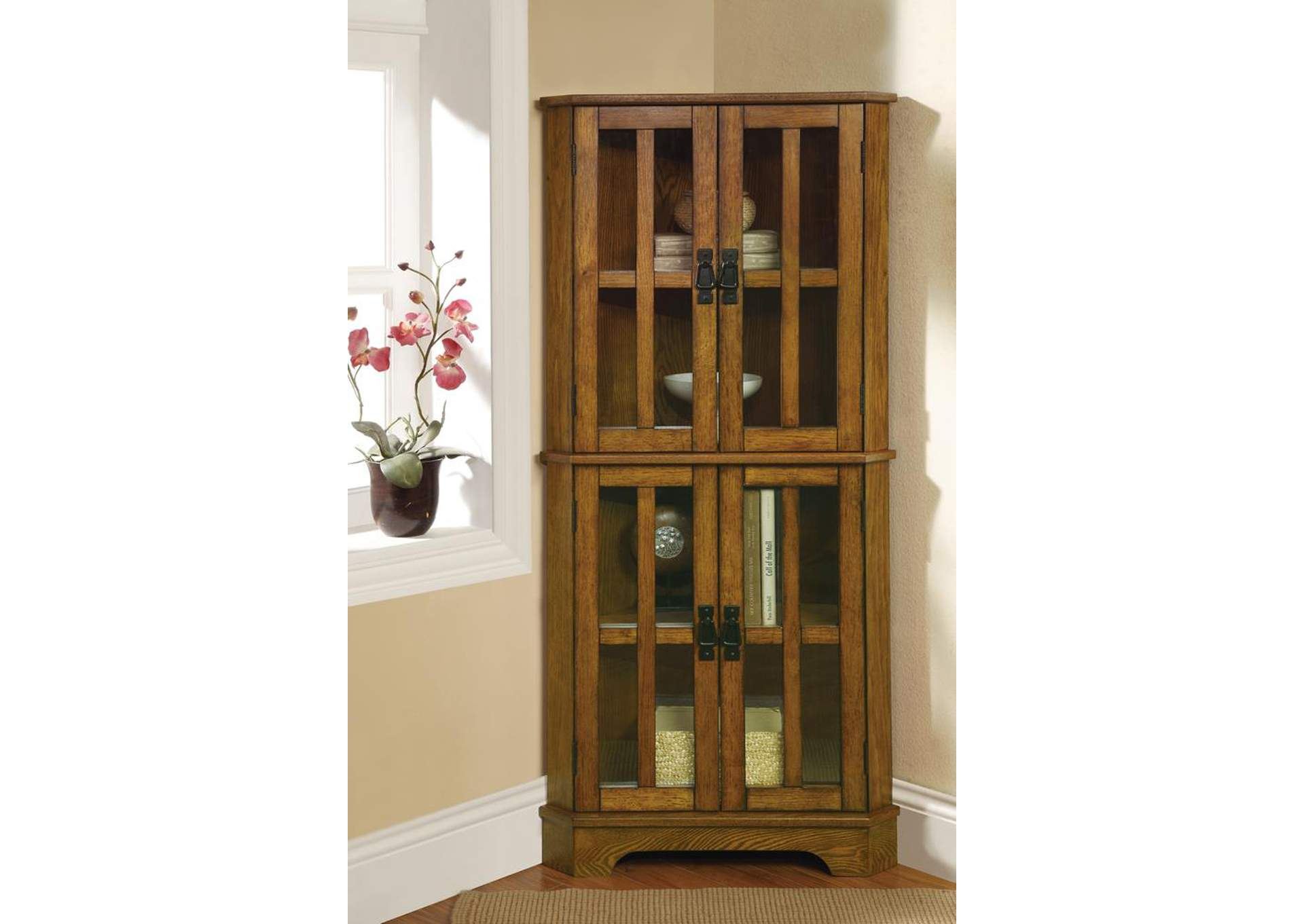 Warm Brown Curio Cabinet,Coaster Furniture